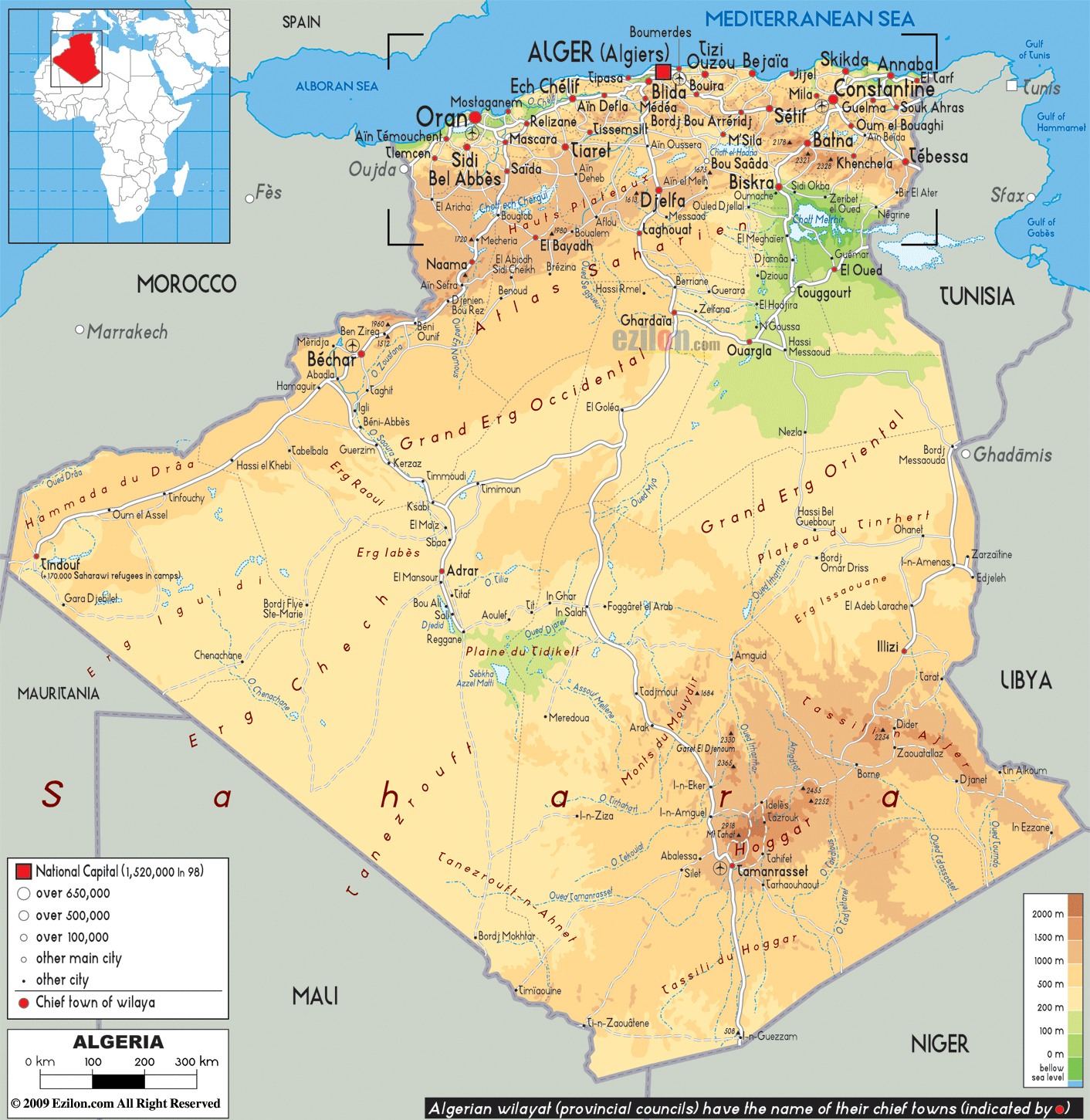 maps of algeria  map library  maps of the world - large physical and road map of algeria