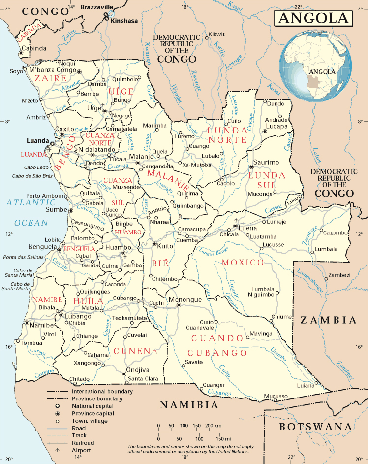 Maps Of Angola Map Library Maps Of The World - Political map of angola