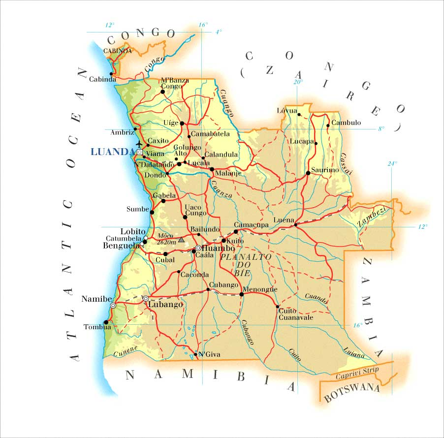 Angola On Africa Map.Maps Of Angola Map Library Maps Of The World