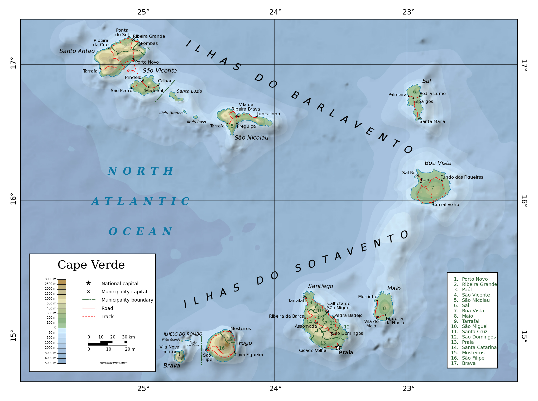 Maps of Cape Verde Map Library Maps of the World