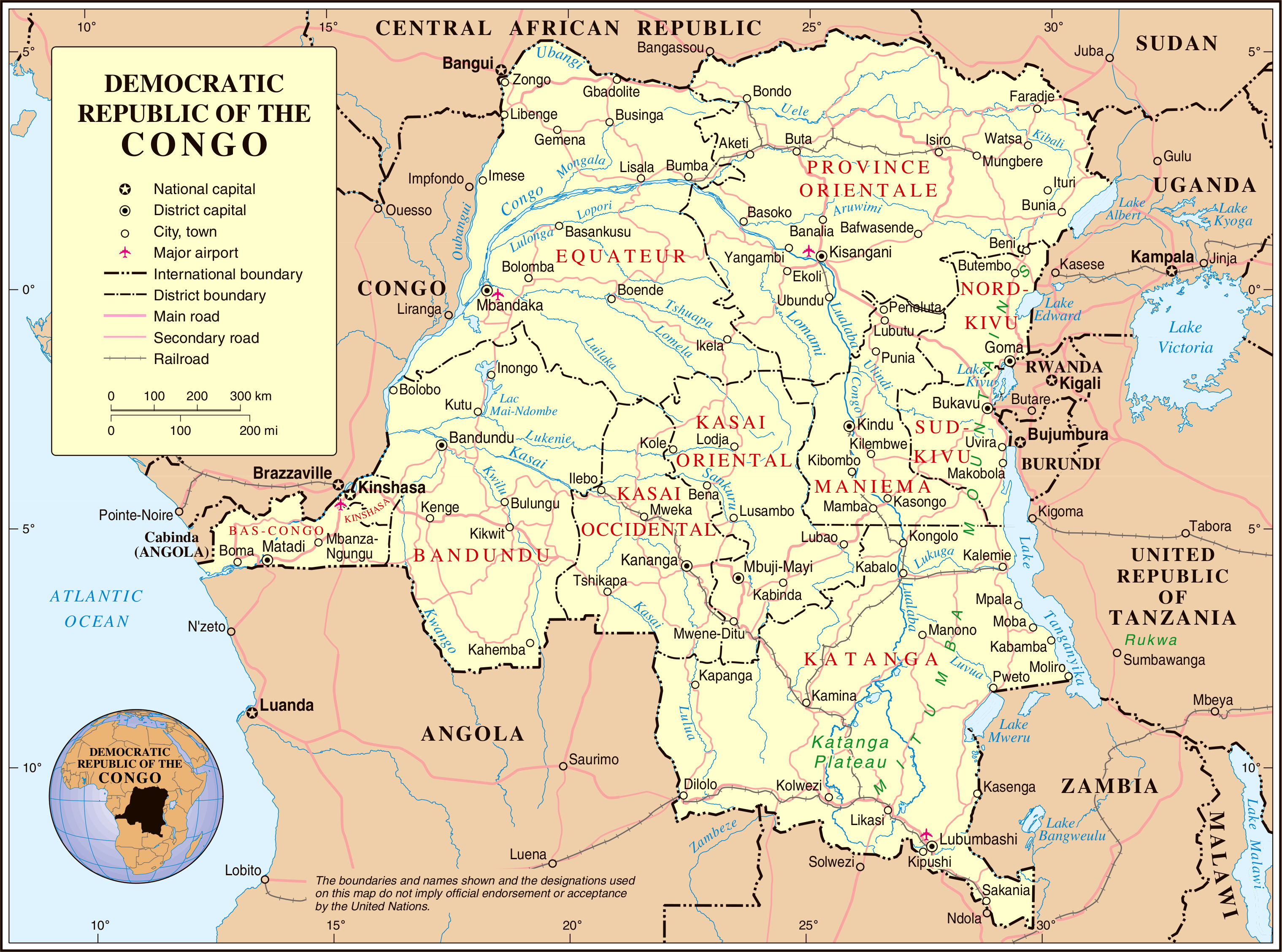 Maps of Congo Democratic Republic Zaire Map Library Maps of