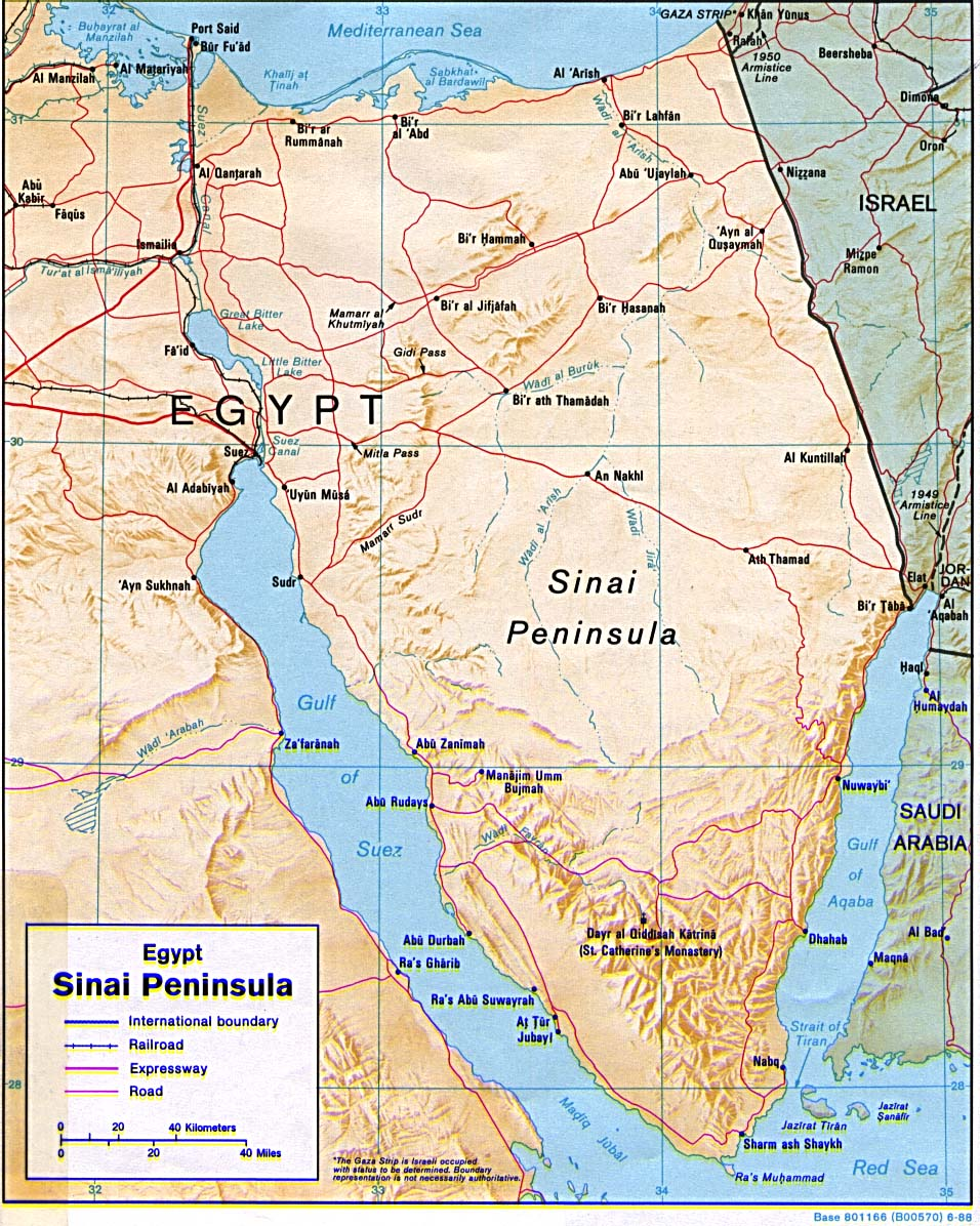 Maps of egypt map library maps of the world detailed relief map of egypt sinai peninsula with roads gumiabroncs Image collections