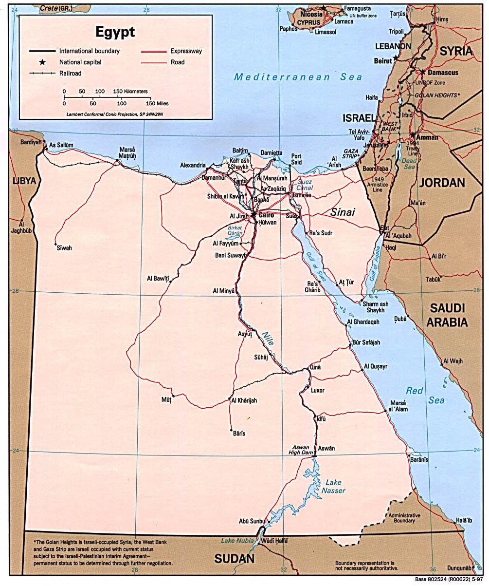 Egypt Political And Tourist Map Map Of States - Map of egypt hd