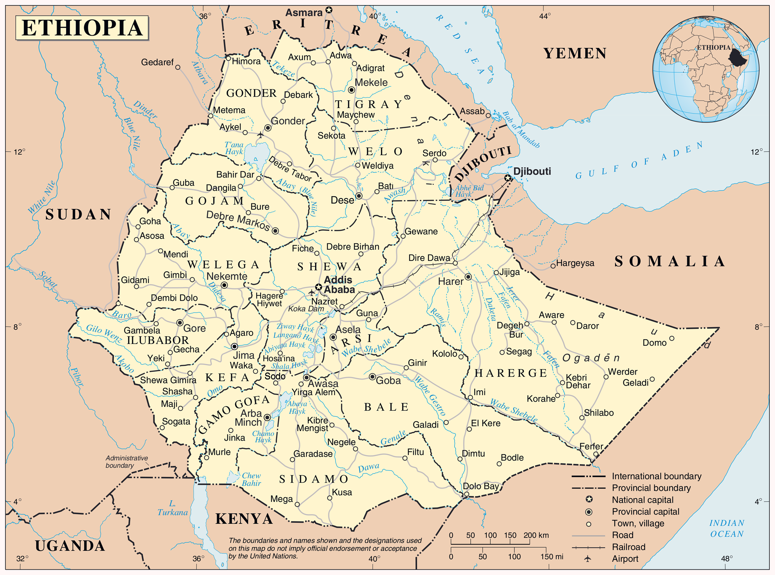Maps of ethiopia map library maps of the world large detailed political and administrative map of ethiopia with all cities highways and airports gumiabroncs Gallery