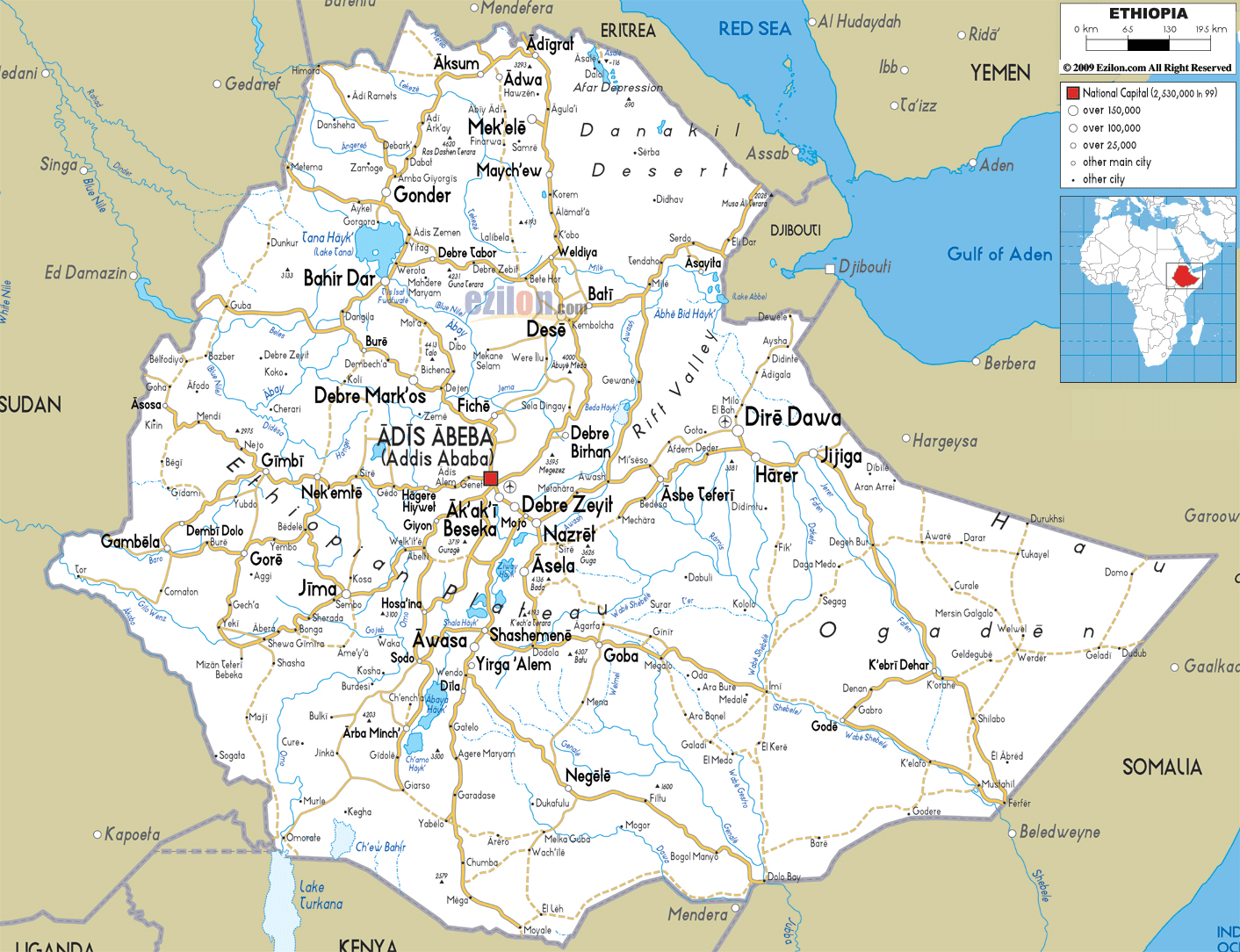 Maps of ethiopia map library maps of the world large detailed road map of ethiopia with all cities and airports gumiabroncs Images