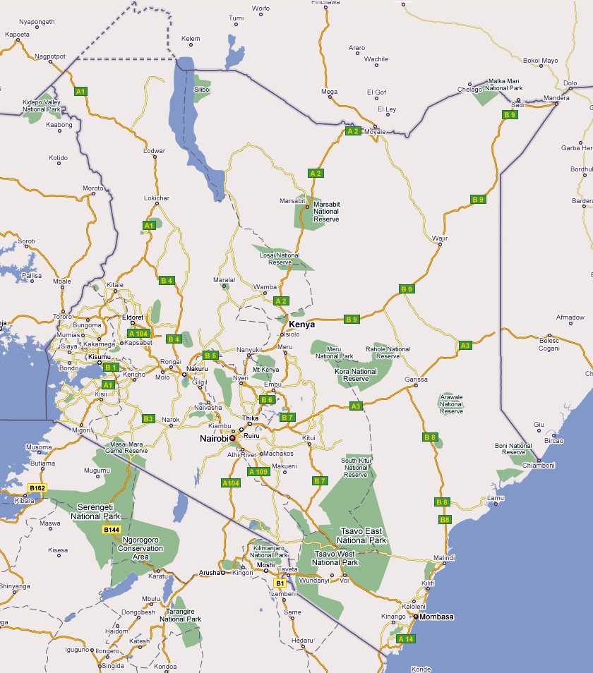 detailed kenya road and national parks map