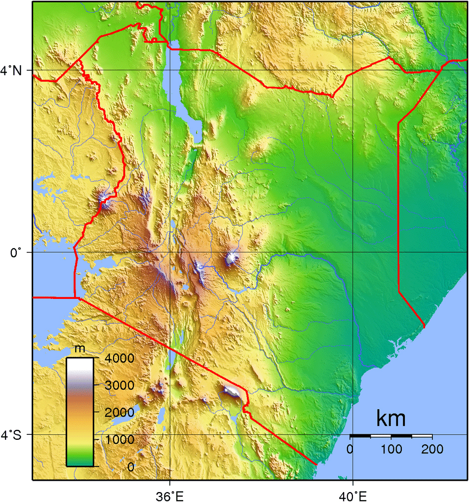 Maps of kenya map library maps of the world large detailed kenya topographical map gumiabroncs Image collections