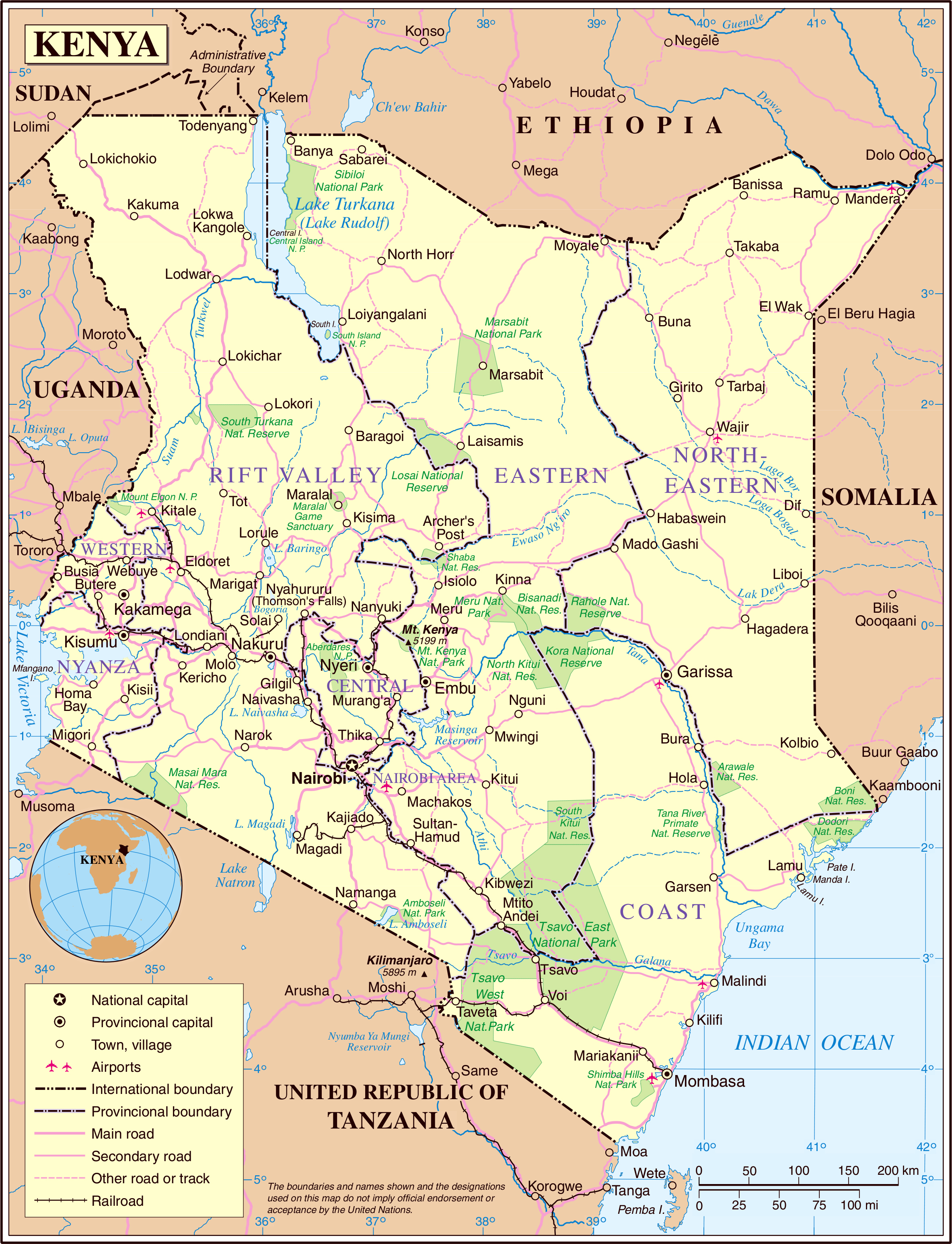 Maps Of Kenya Map Library Maps Of The World - Map of kenya