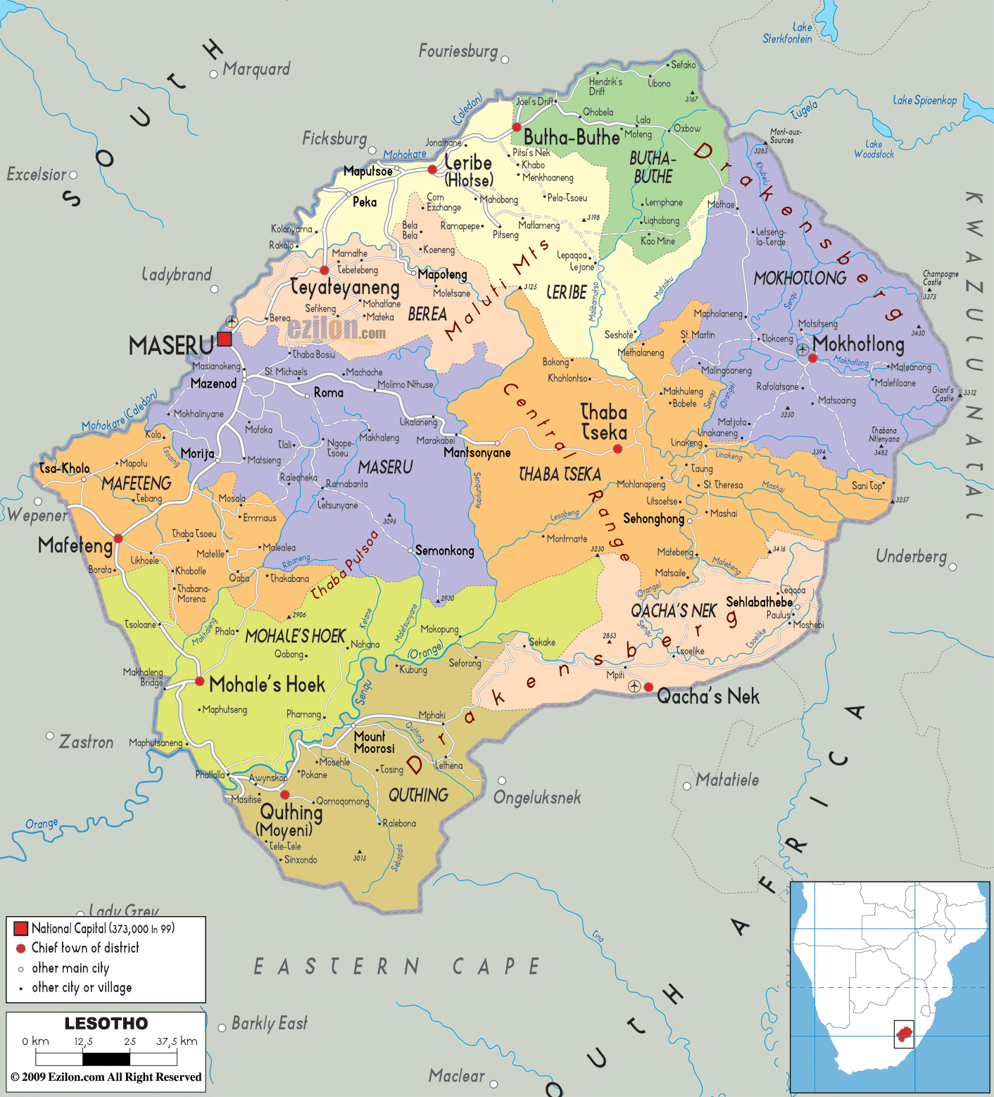 Maps of Lesotho Map Library Maps of the World