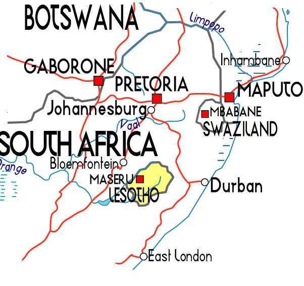 Maps Of Lesotho Map Library Maps Of The World - Lesotho political map