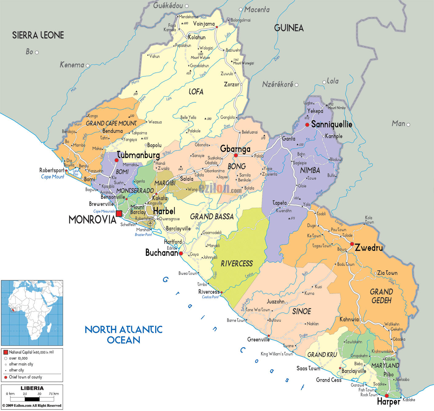Maps of liberia map library maps of the world large detailed political and administrative map of liberia with roads and cities gumiabroncs Choice Image