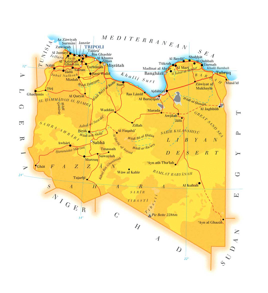 Maps of libya map library maps of the world detailed topo and road map of libya publicscrutiny Gallery