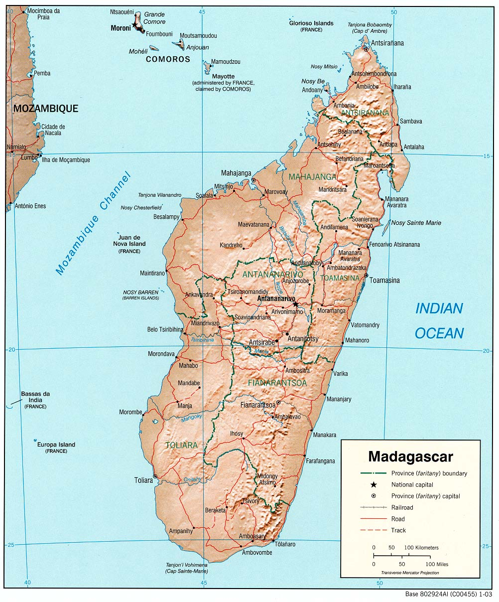 Maps of madagascar map library maps of the world detailed political map of madagascar with relief publicscrutiny Choice Image