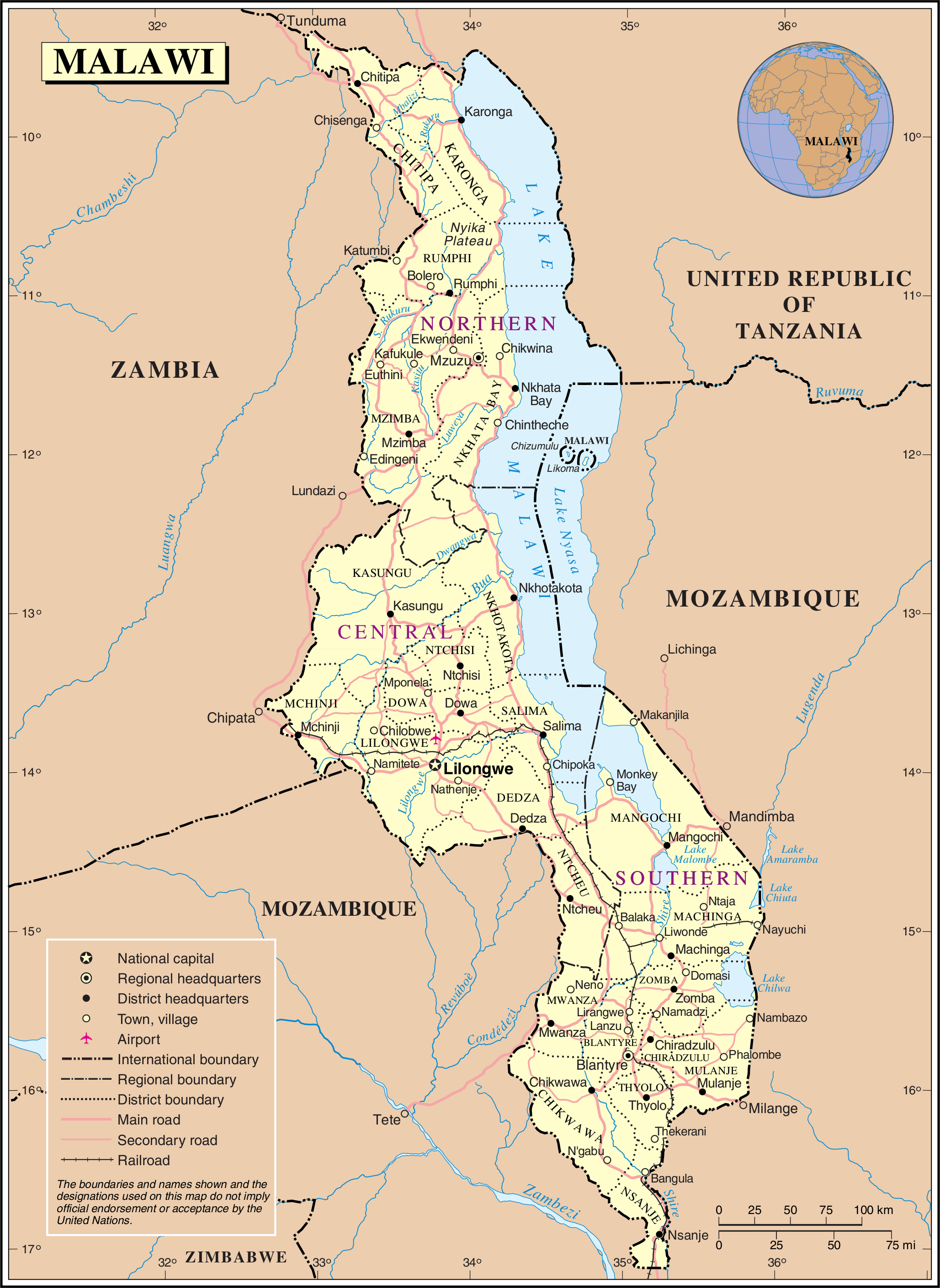 Maps of Malawi Map Library