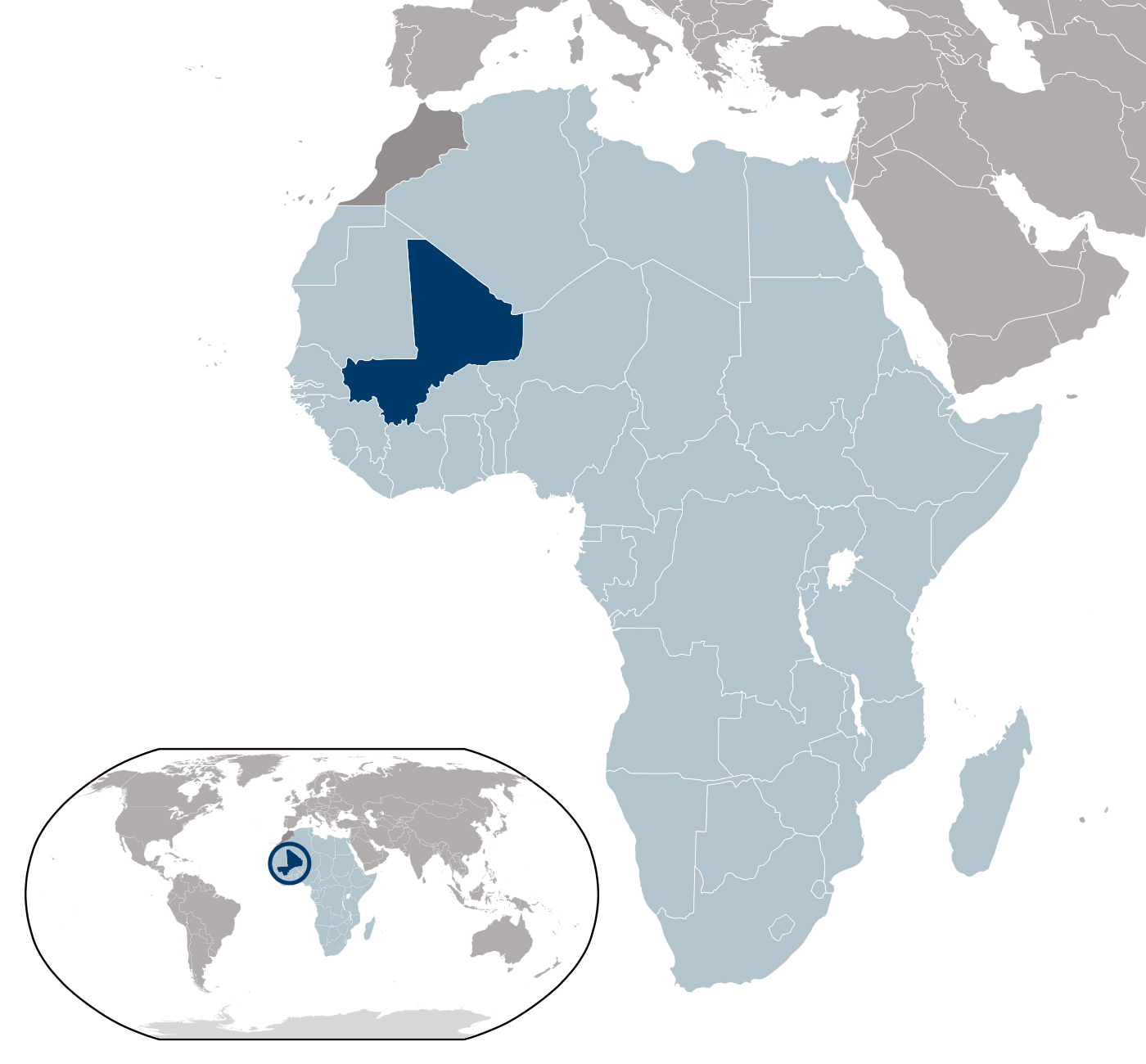 Mali Detailed Location Map.