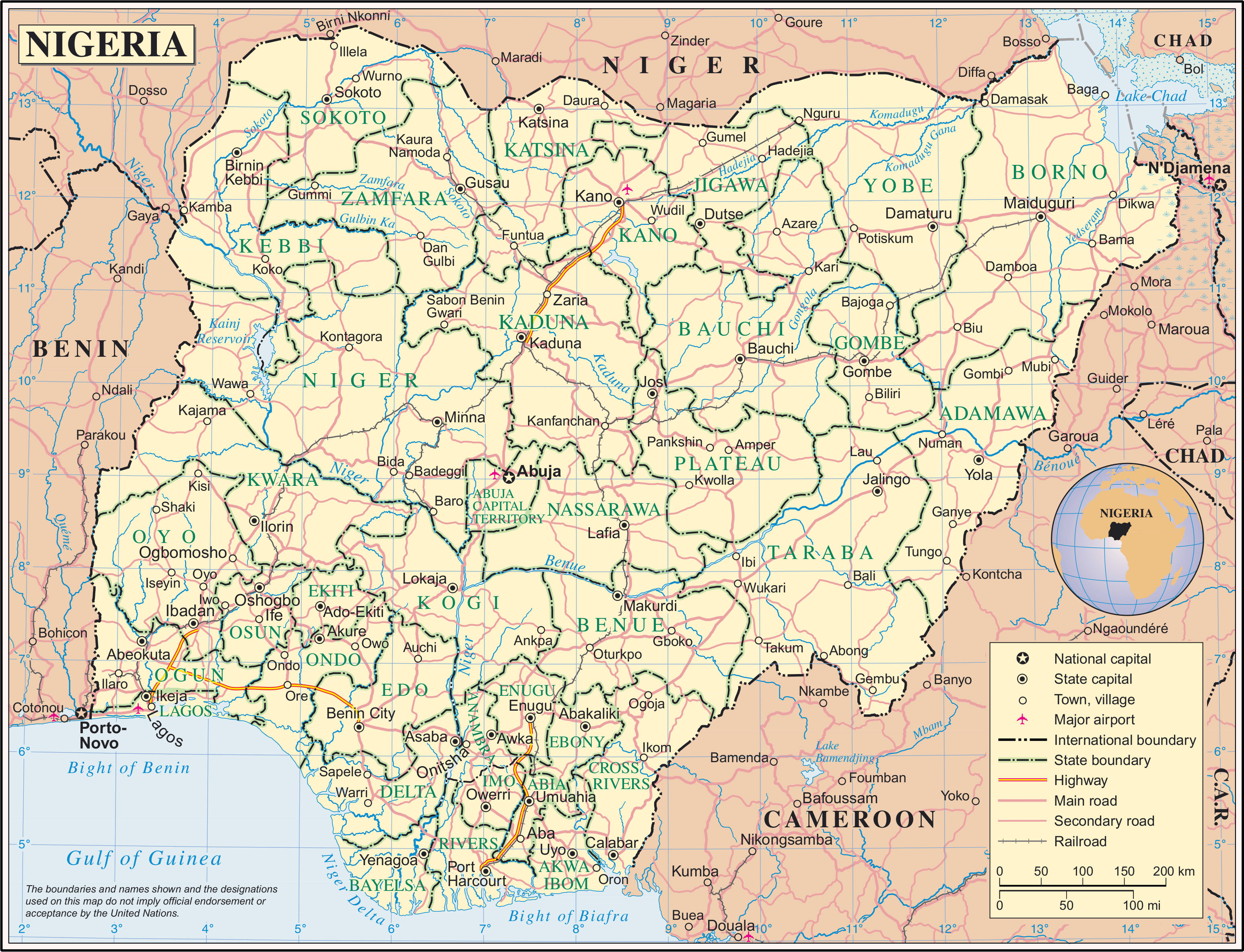 large detailed political and administrative map of nigeria with all roads cities and airports
