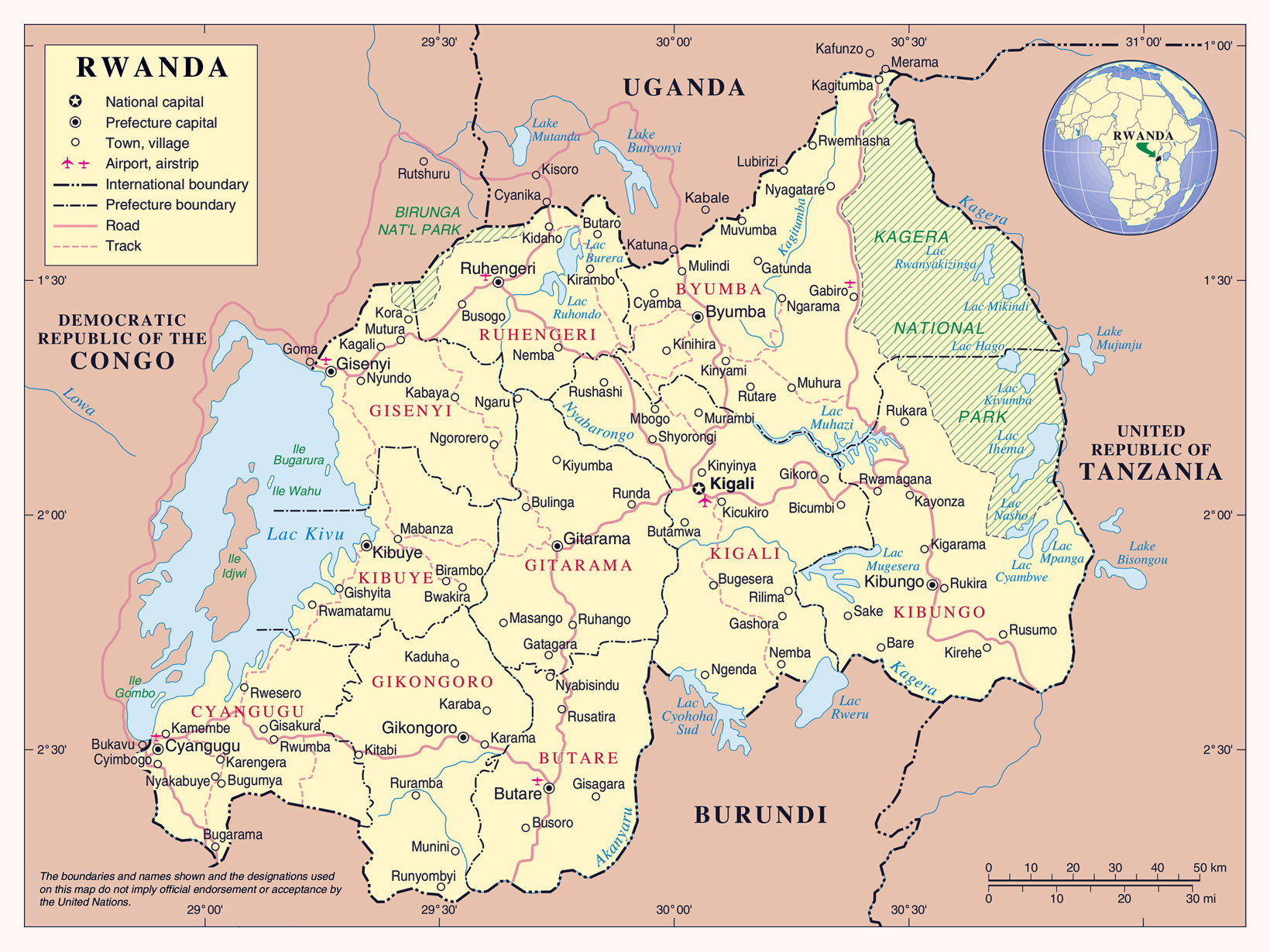 Maps of rwanda map library maps of the world detailed political map of rwanda with all cities roads and airports gumiabroncs Images