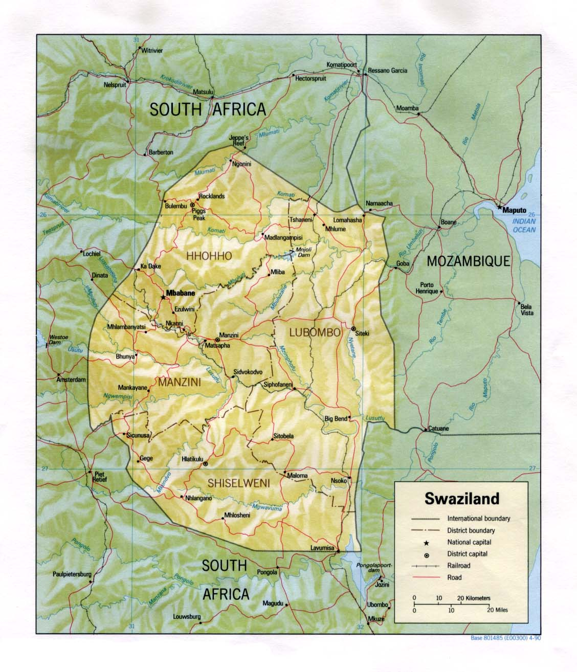 Maps of Swaziland Map Library Maps of the World