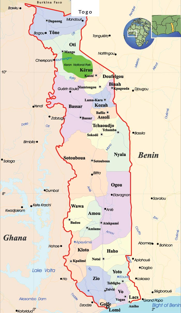 Maps of Togo | Map Liry | Maps of the World Togo Map on