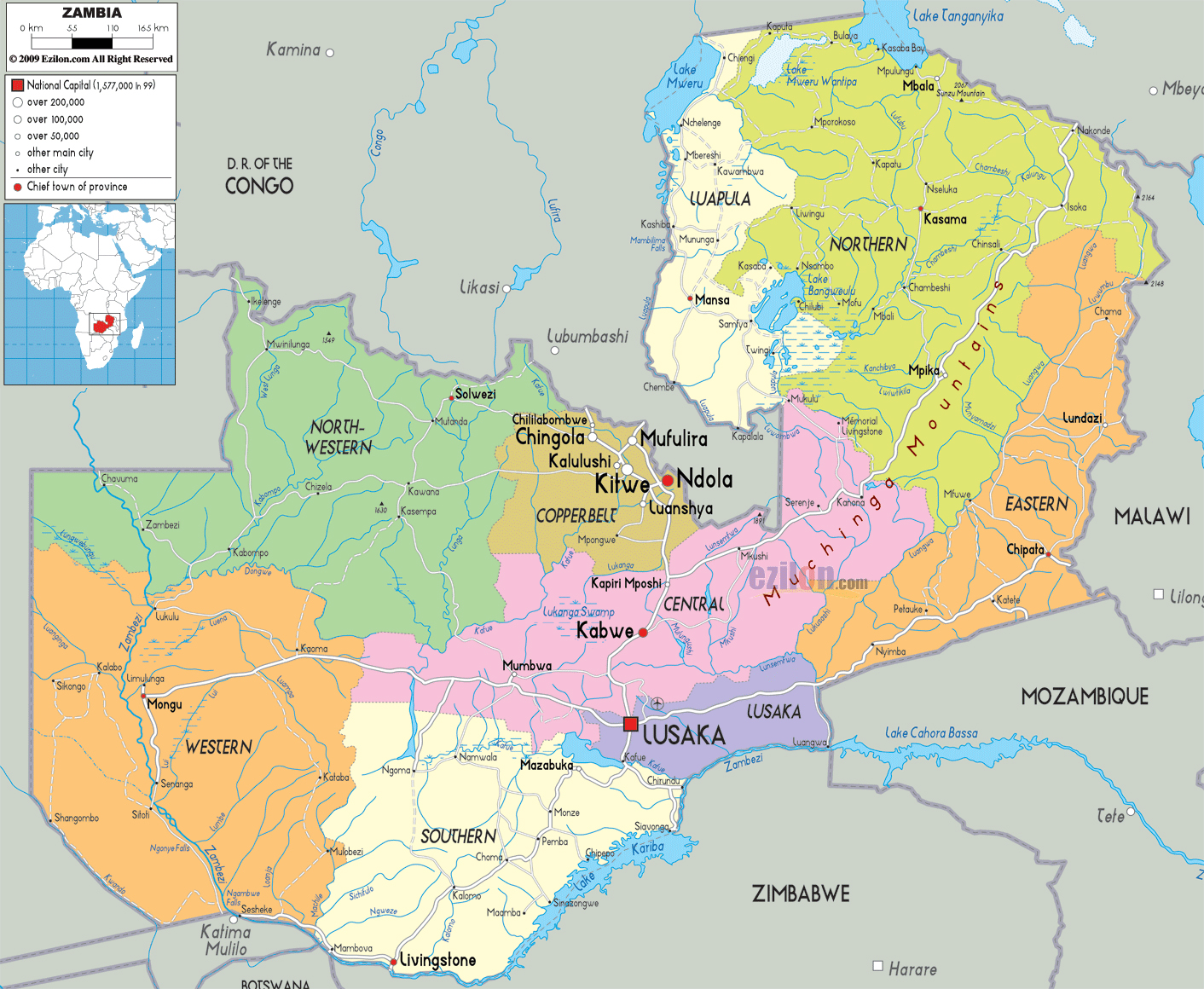 Maps of Zambia | Map Library | Maps of the World