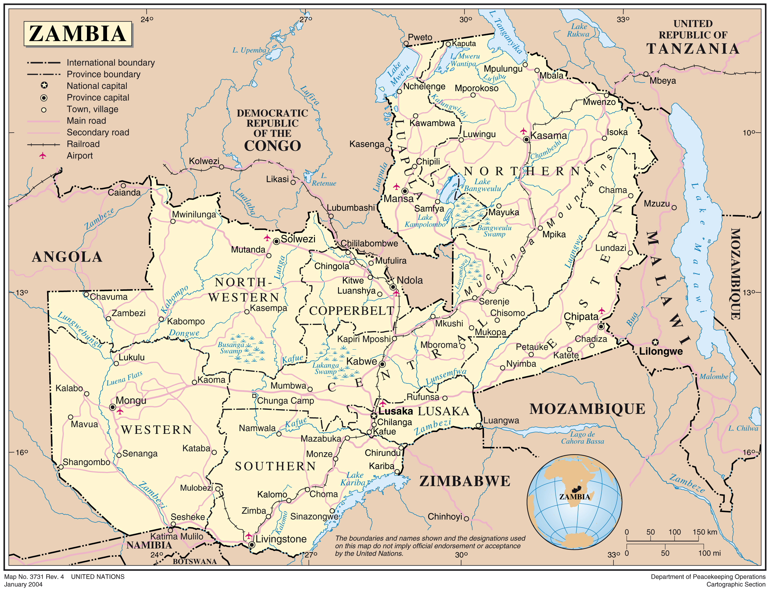 Maps of Zambia   Map Library   Maps of the World