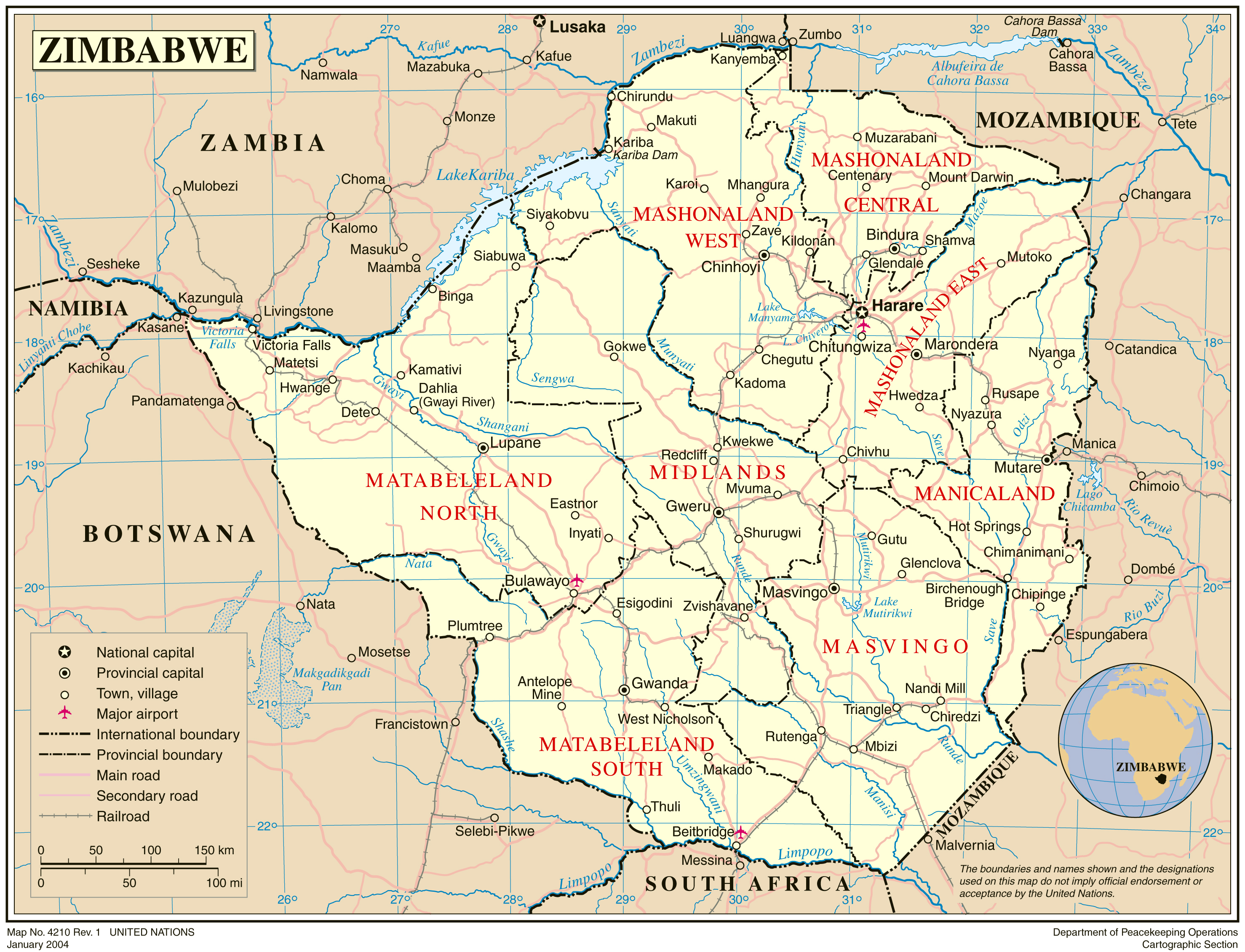 Maps of zimbabwe map library maps of the world detailed political and administrative map of zimbabwe with all cities and roads gumiabroncs Choice Image