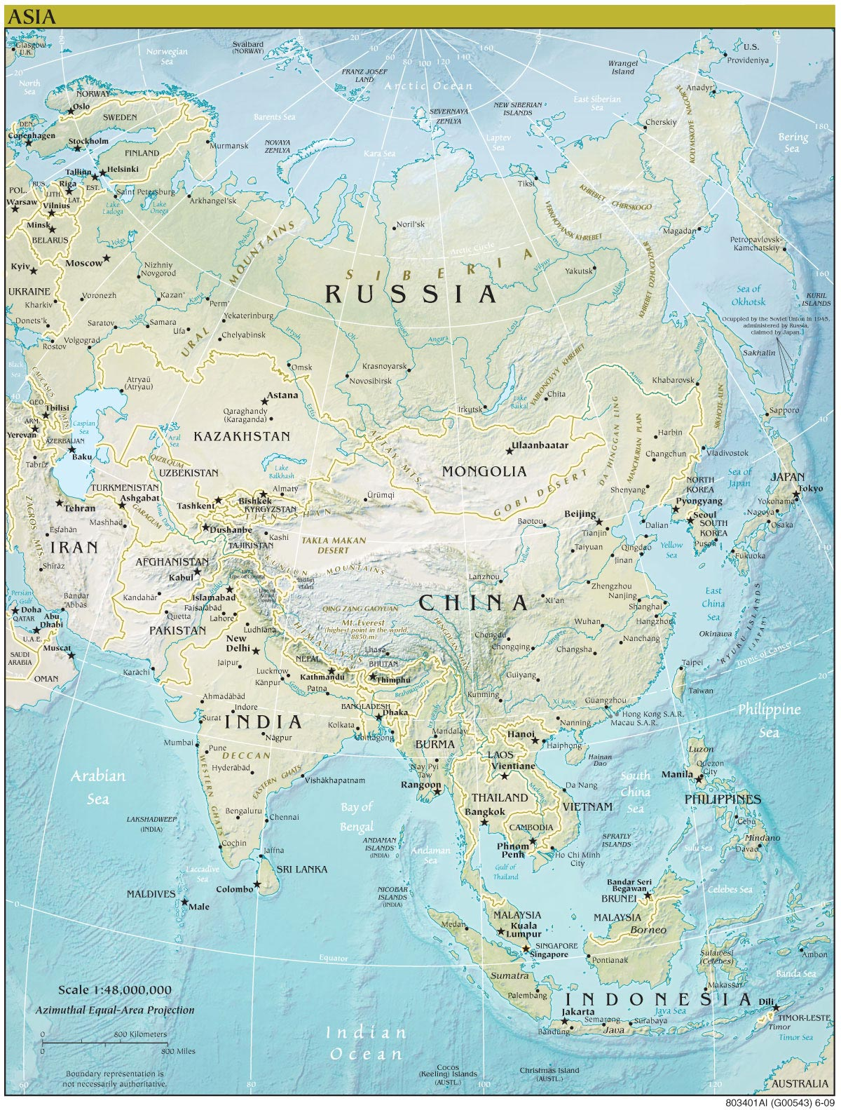 asia continent detailed physical map