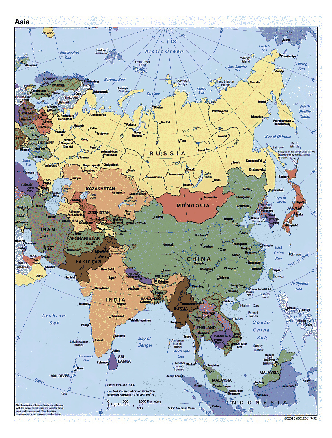 detailed political map of asia with all capitals