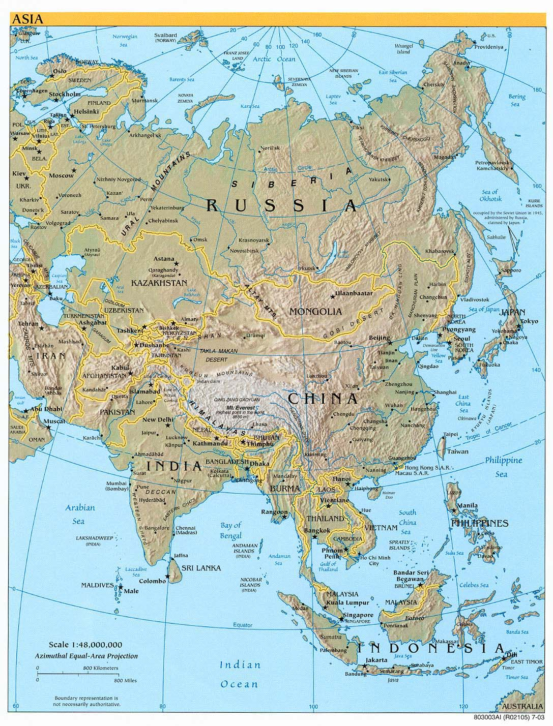 detailed relief and political map of asia