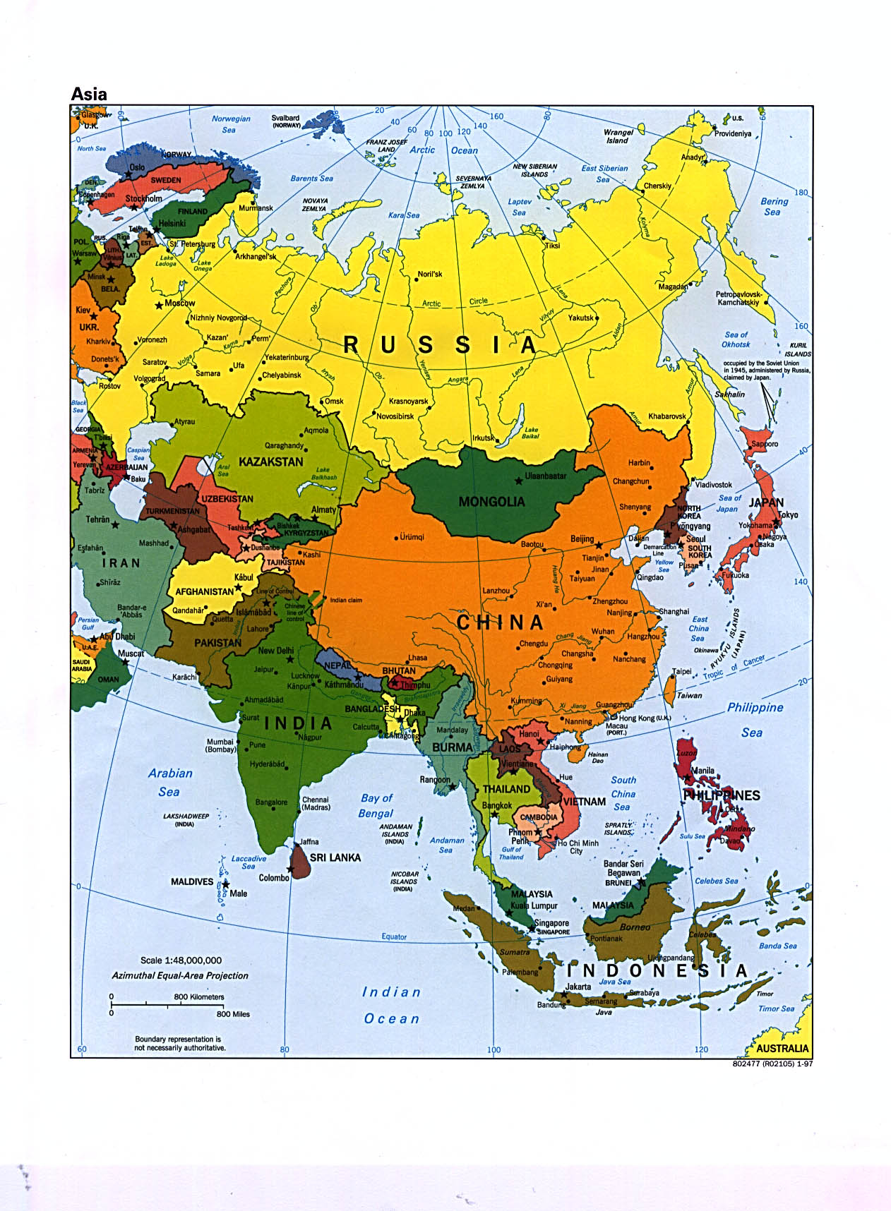 large political map of asia