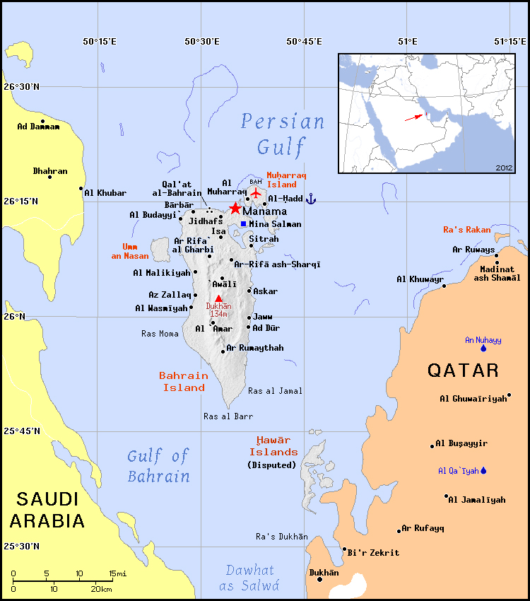 Bahrain location on the asia map