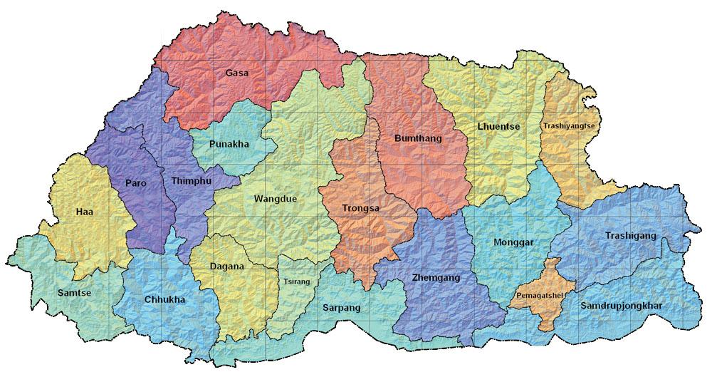 Bhutan Maps With Cities Bhutan Cities Map