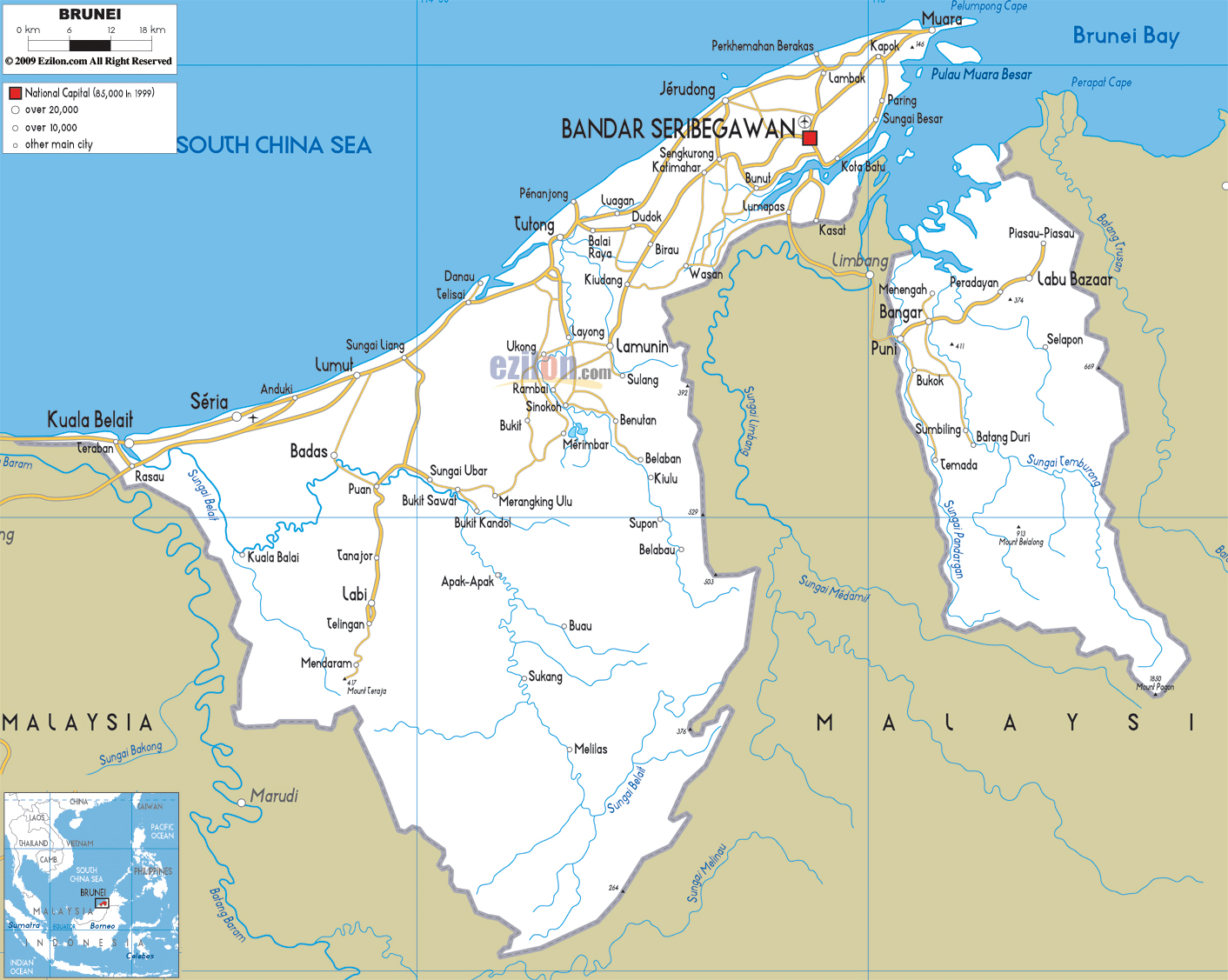 Maps of brunei map library maps of the world detailed road map of brunei gumiabroncs