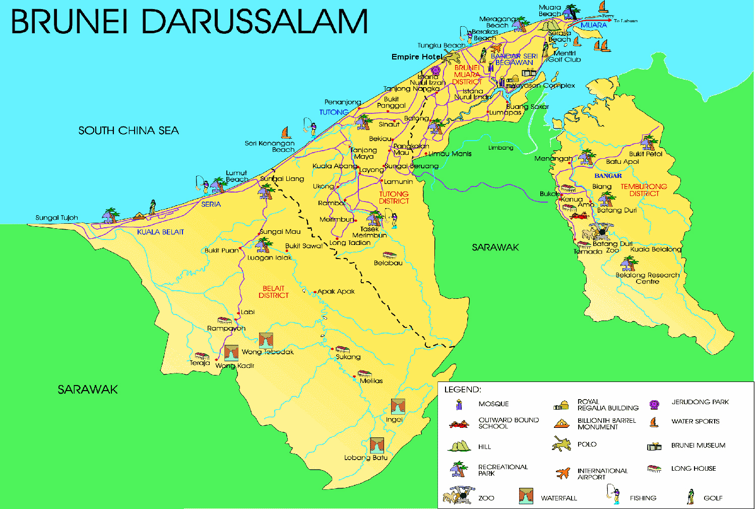 Maps of brunei map library maps of the world detailed tourist map of brunei gumiabroncs Gallery
