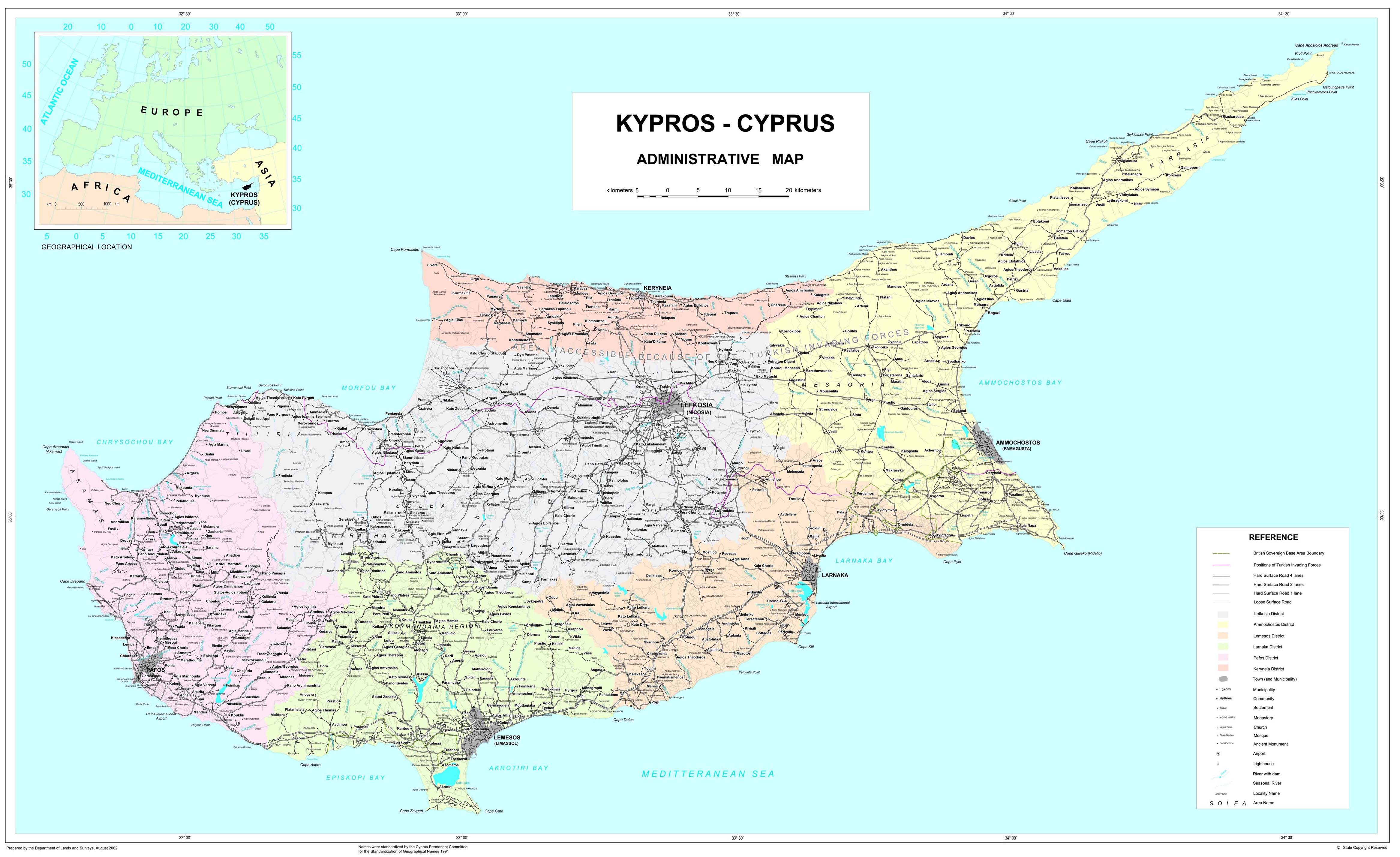 Maps of cyprus map library maps of the world large detailed road and administrative map of cyprus with all cities and roads on the map gumiabroncs Gallery