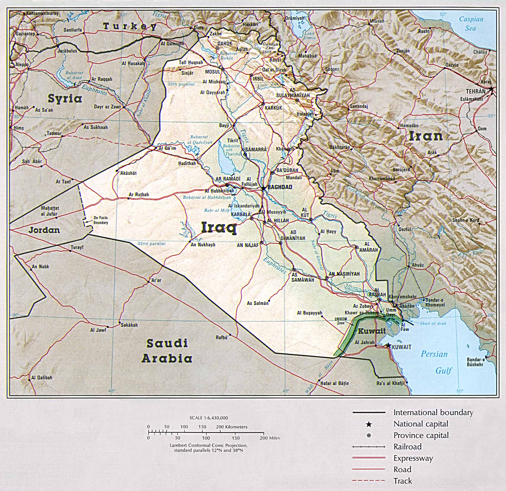 detailed political map of iraq with roads and relief