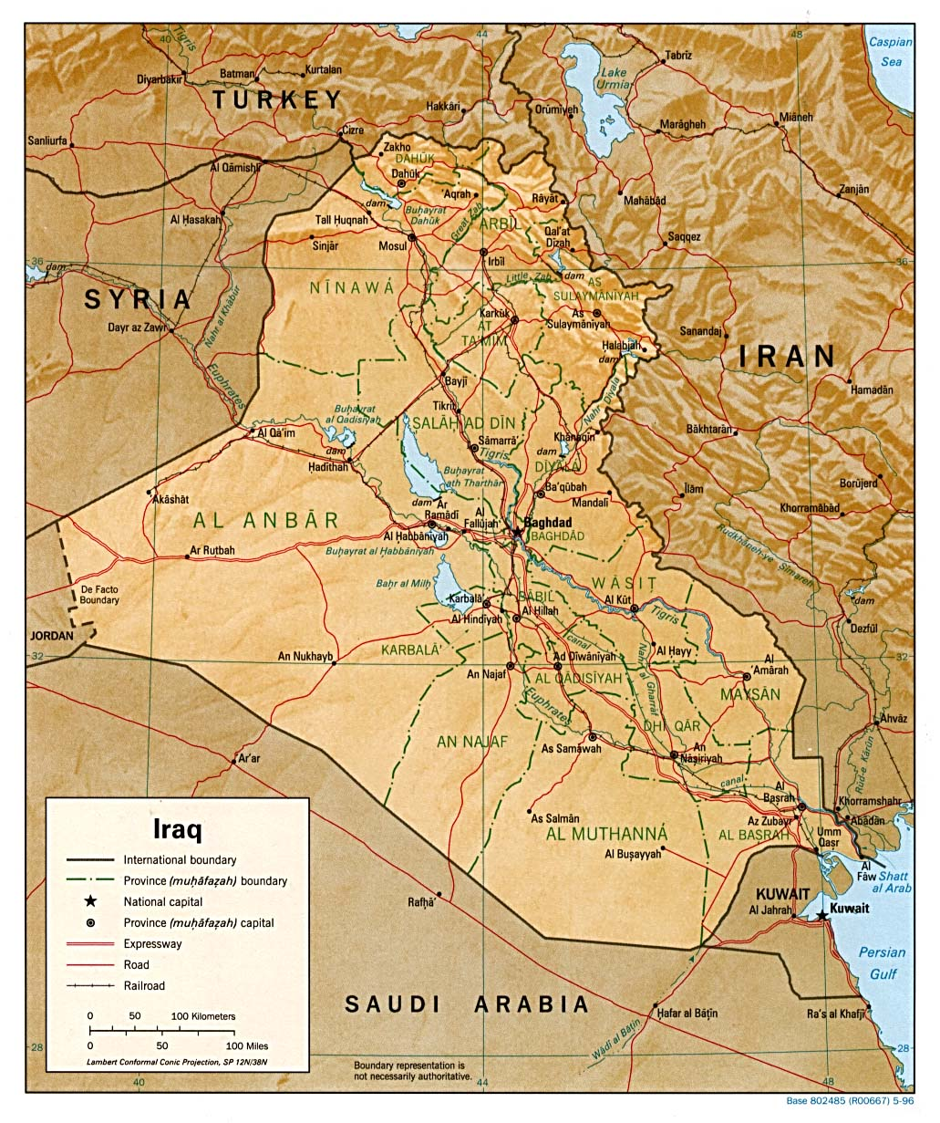 Maps of iraq map library maps of the world large detailed political and administrative map of iraq with relief gumiabroncs Images
