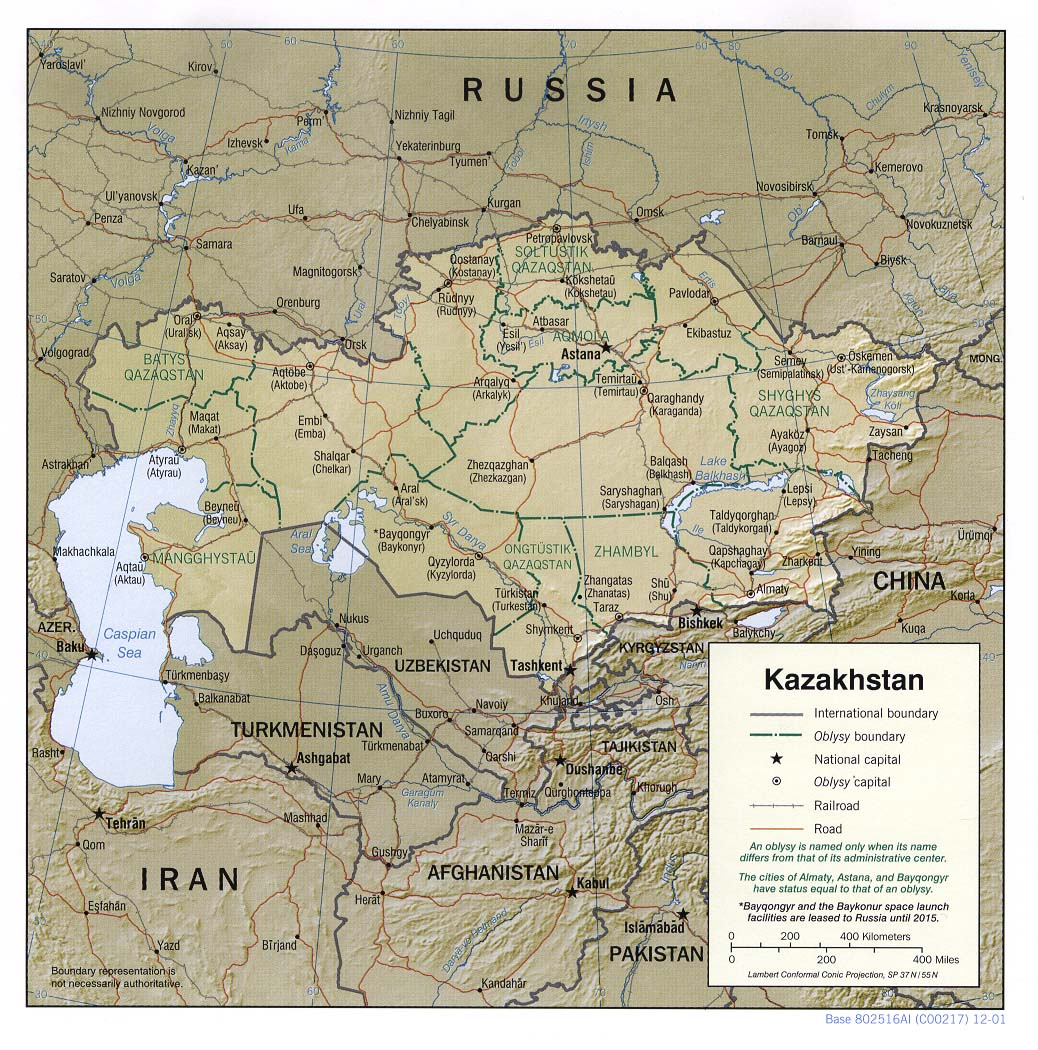 Maps of kazakhstan map library maps of the world detailed political and administrative map of kazakhstan with relief publicscrutiny Image collections