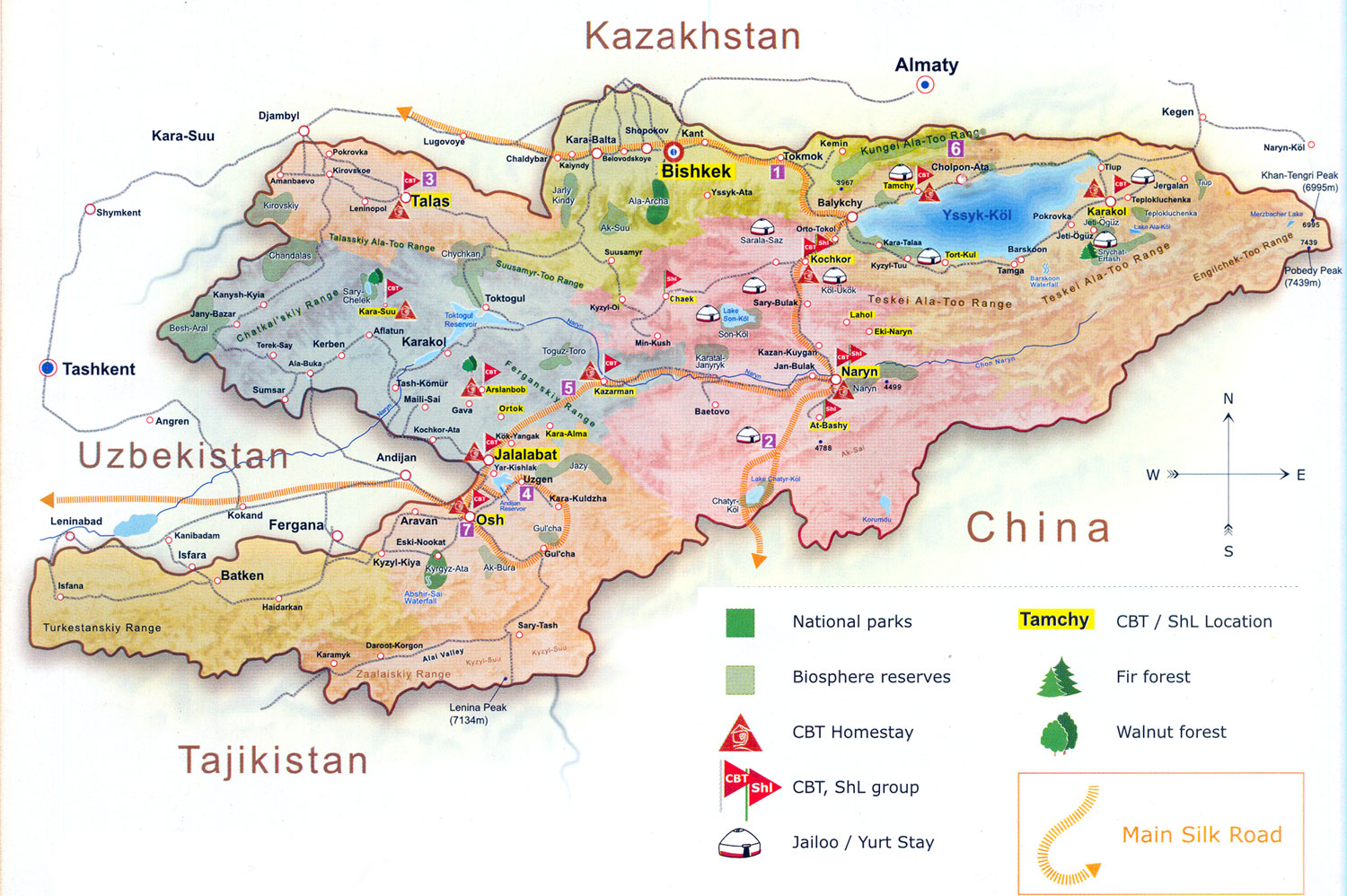large detailed tourist map of kyrgyzstan