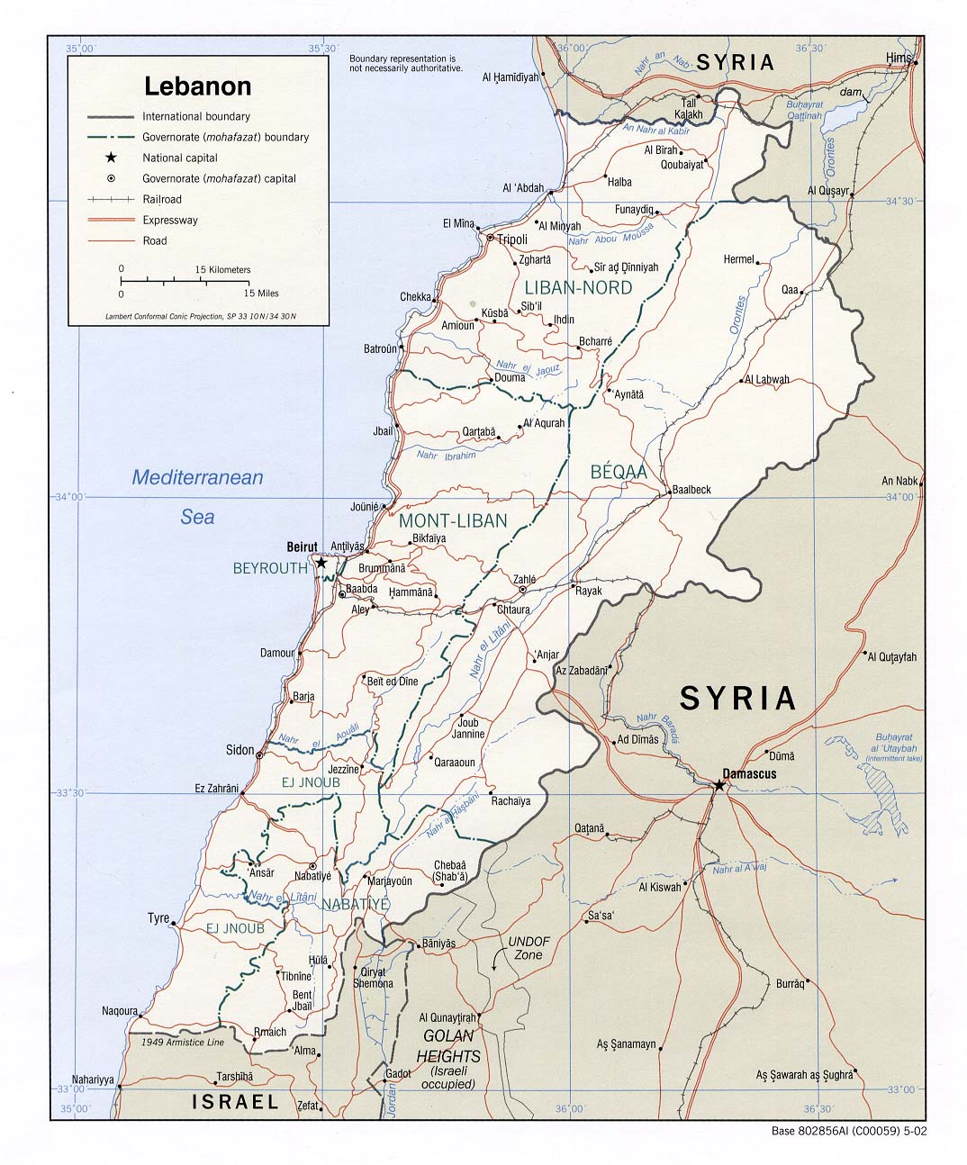 Maps of Lebanon Map Library Maps of the World