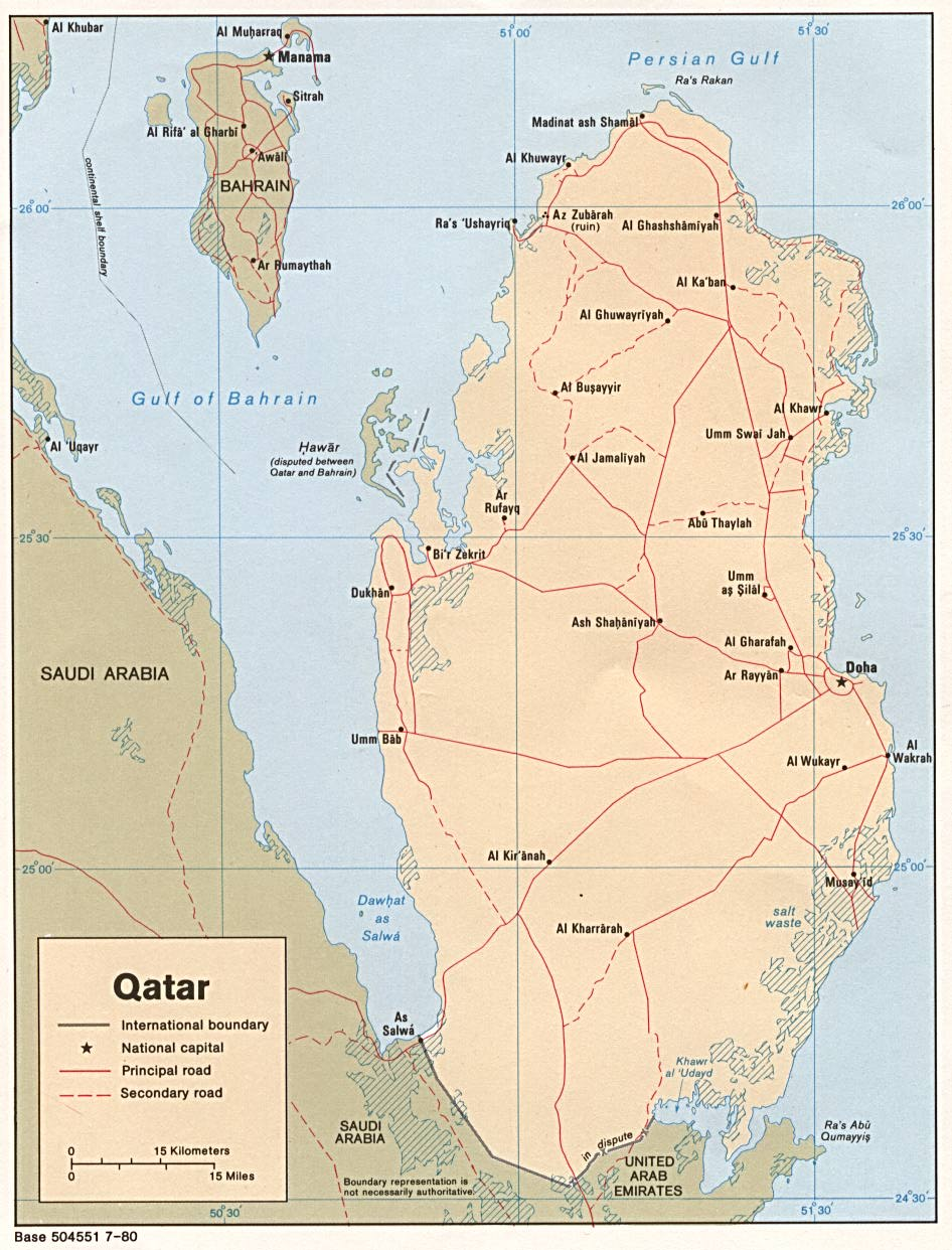 Maps of qatar map library maps of the world detailed rpolitical map of qatar with roads sciox Image collections
