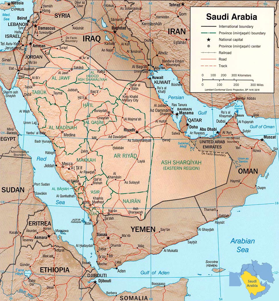 detailed political and administrative map of saudi arabia with relief
