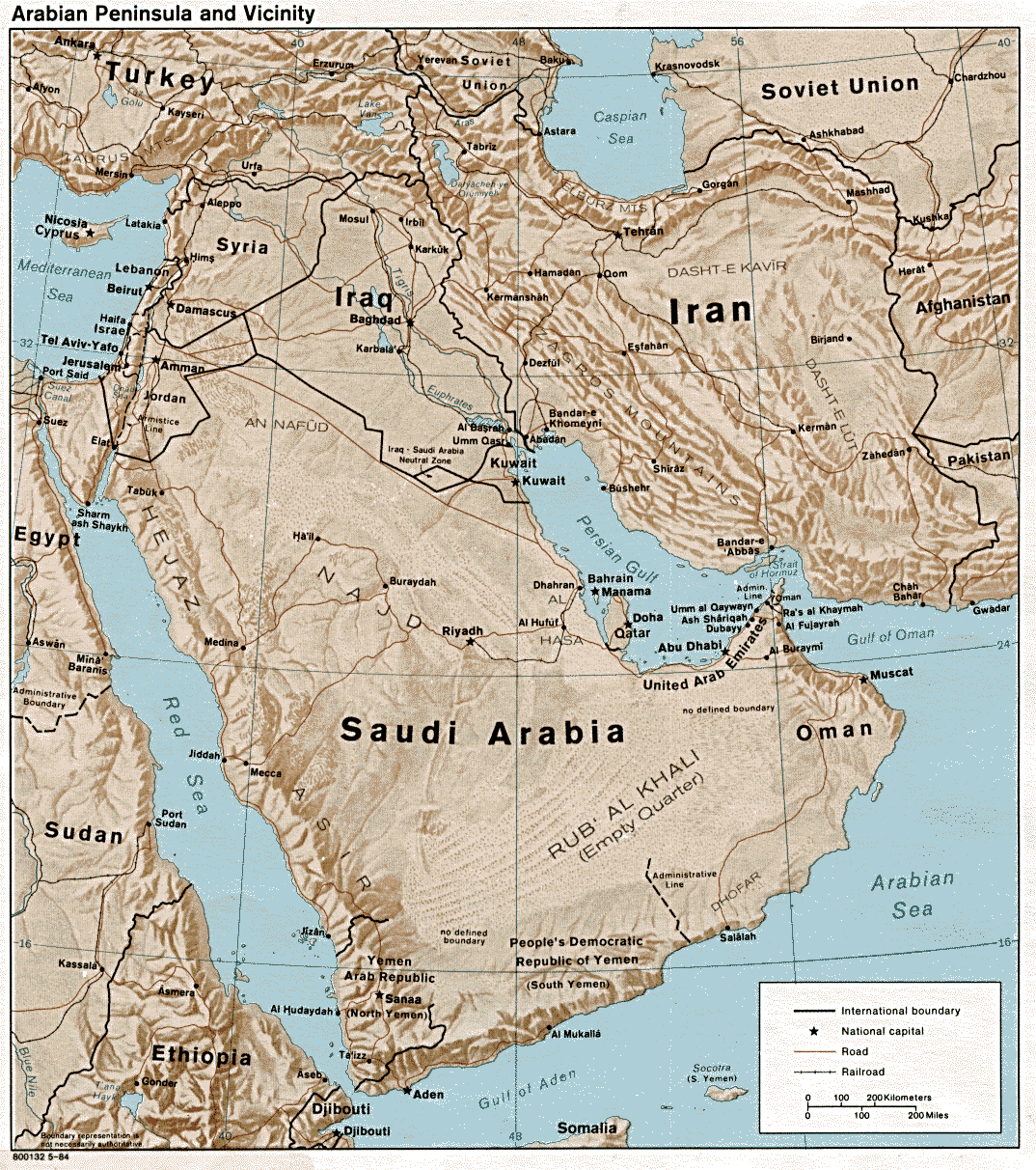 detailed political map of saudi arabia with relief