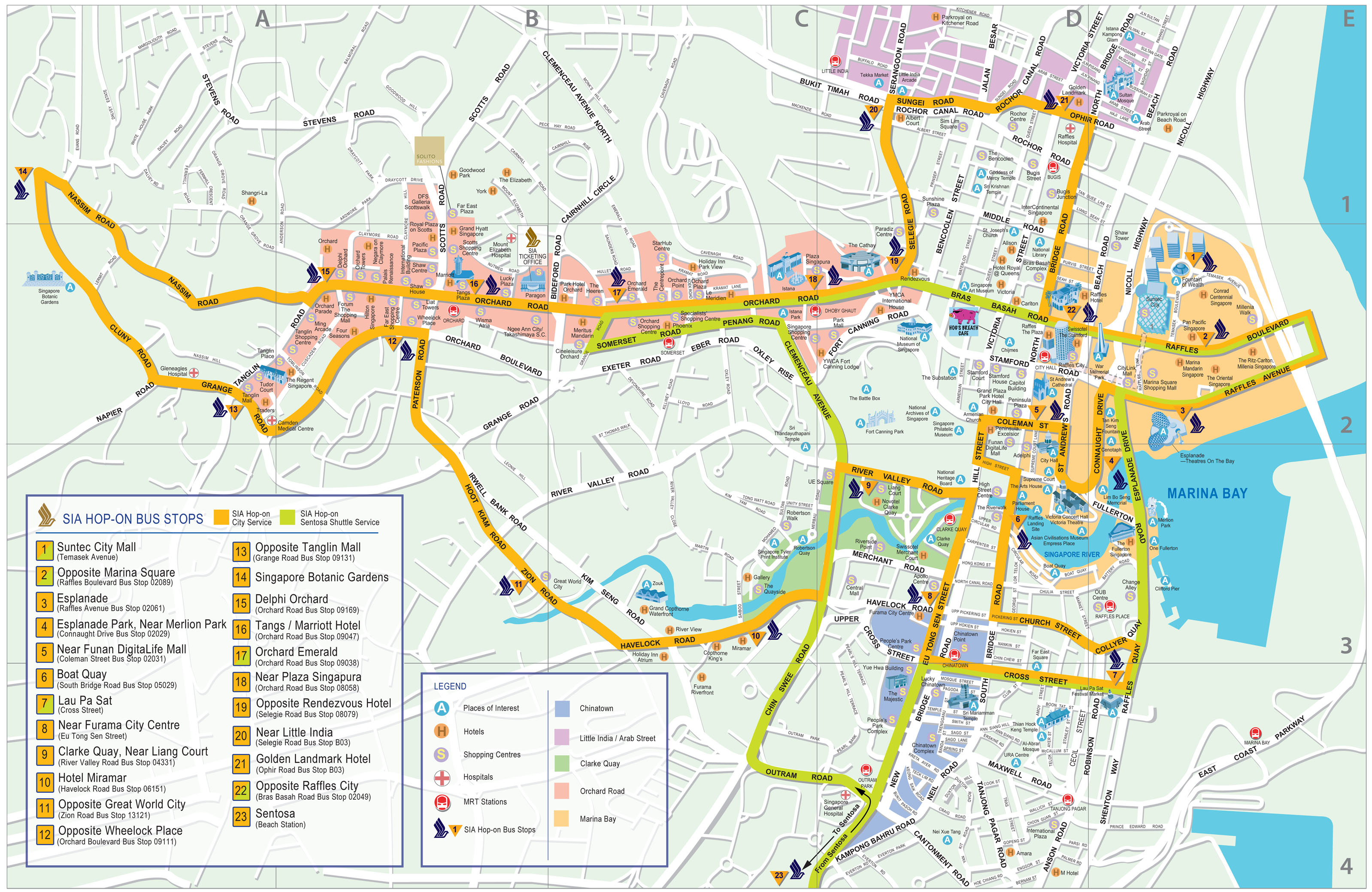 large detailed road map of singapore city