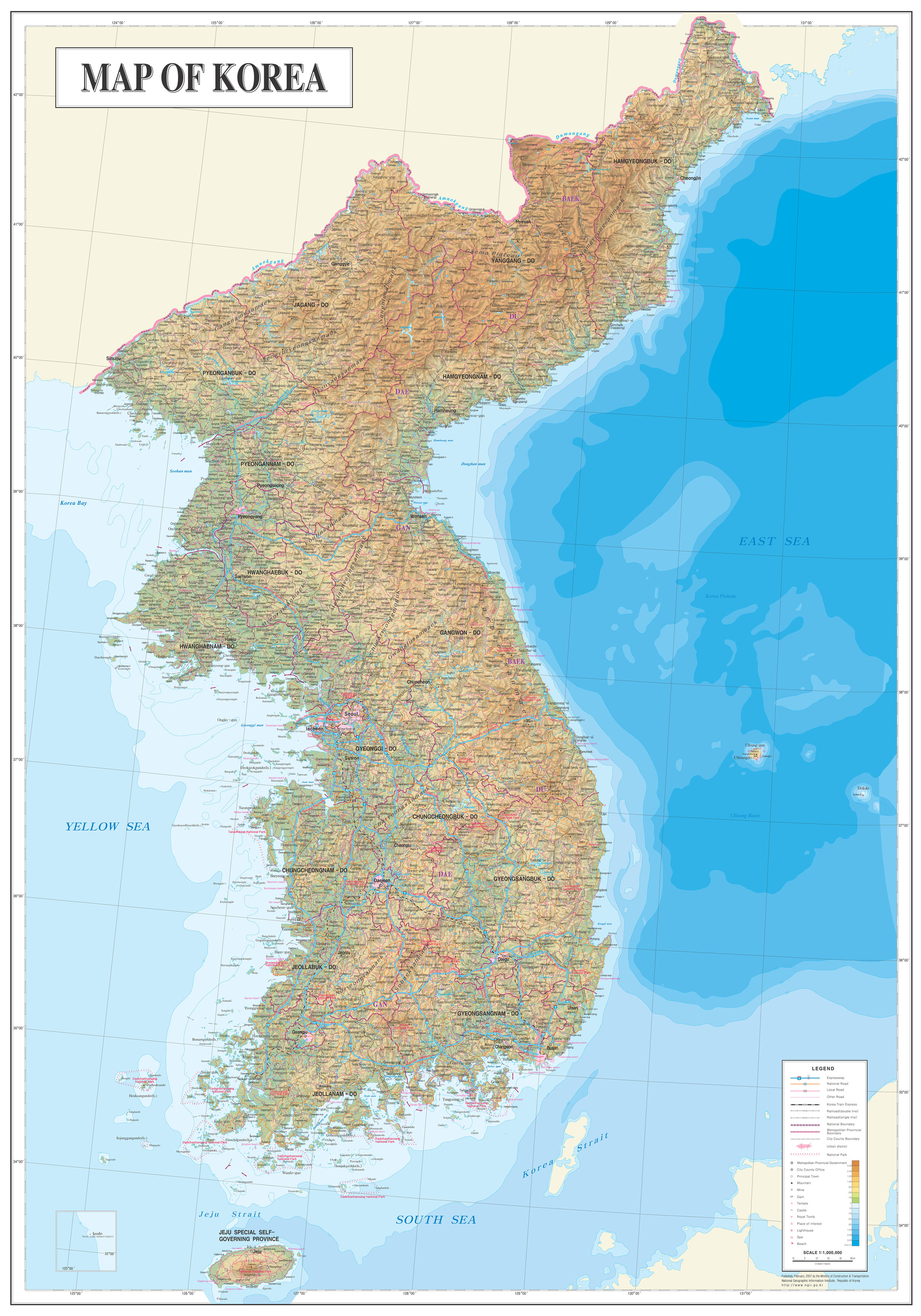 Maps of south korea map library maps of the world large detailed physical map of north and south korea gumiabroncs Images