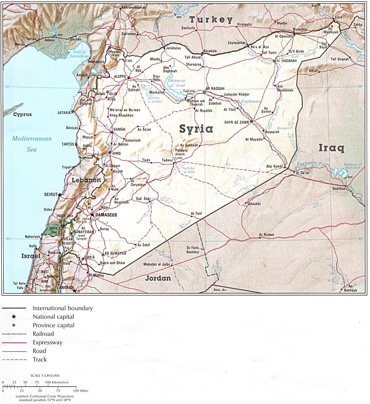 Maps of syria map library maps of the world detailed political and administrative map of syria with relief sciox Gallery