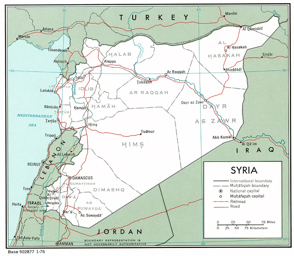 political and administrative map of syria with roads