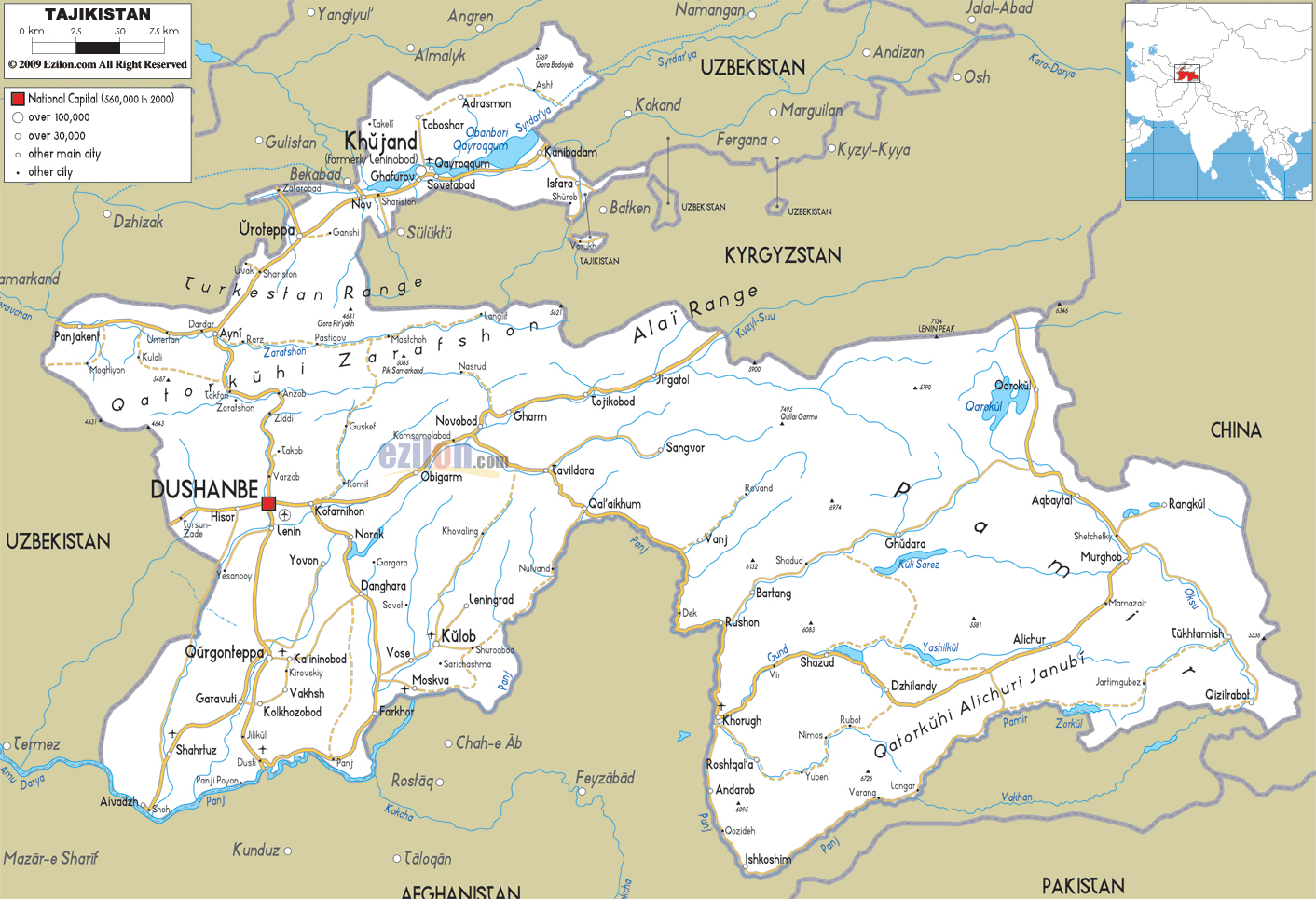 Maps of Tajikistan | Map Library | Maps of the World