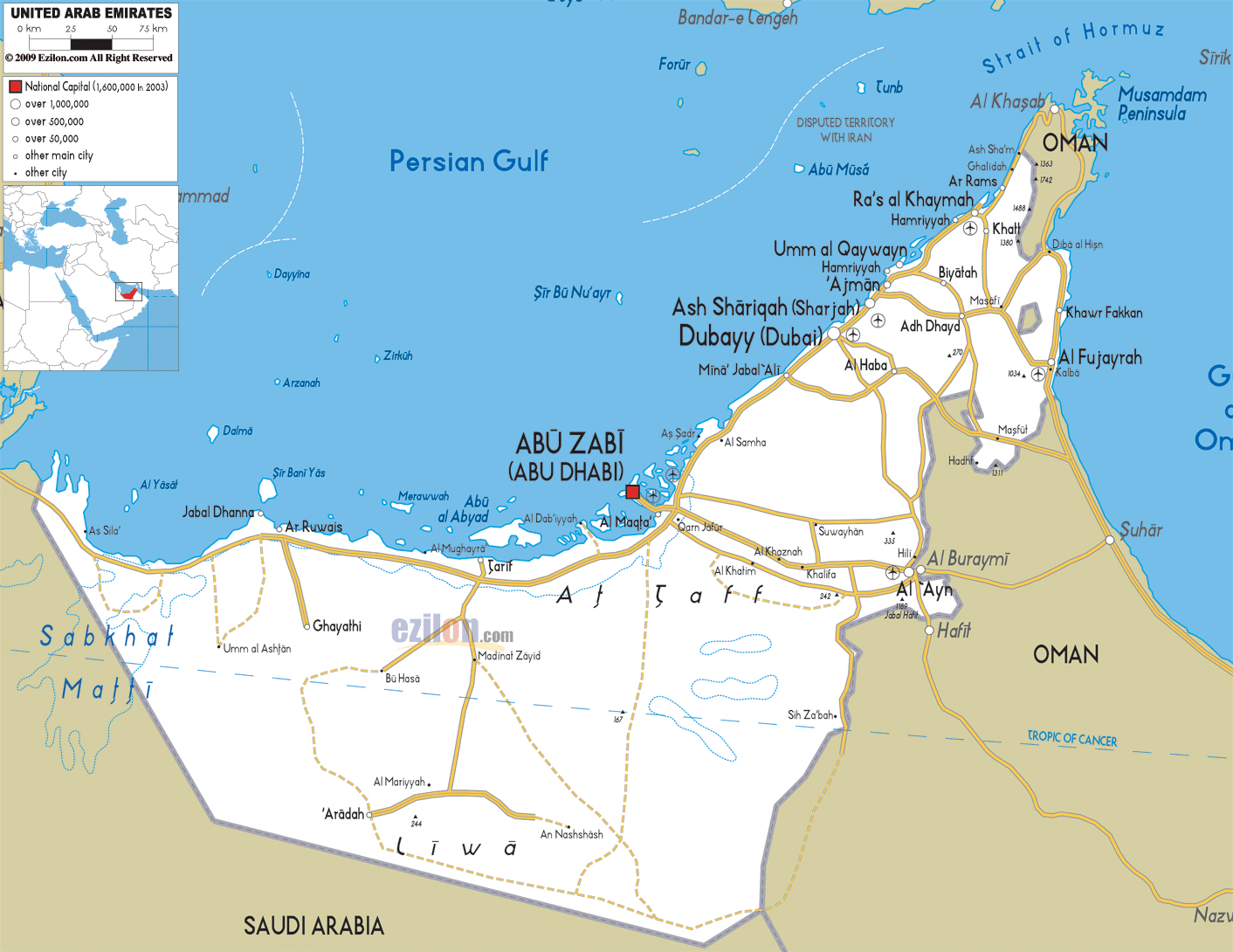 detailed road and administrative map of uae