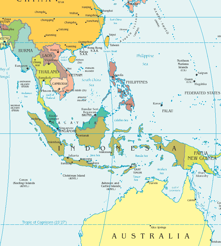 southeast asia detailed political map